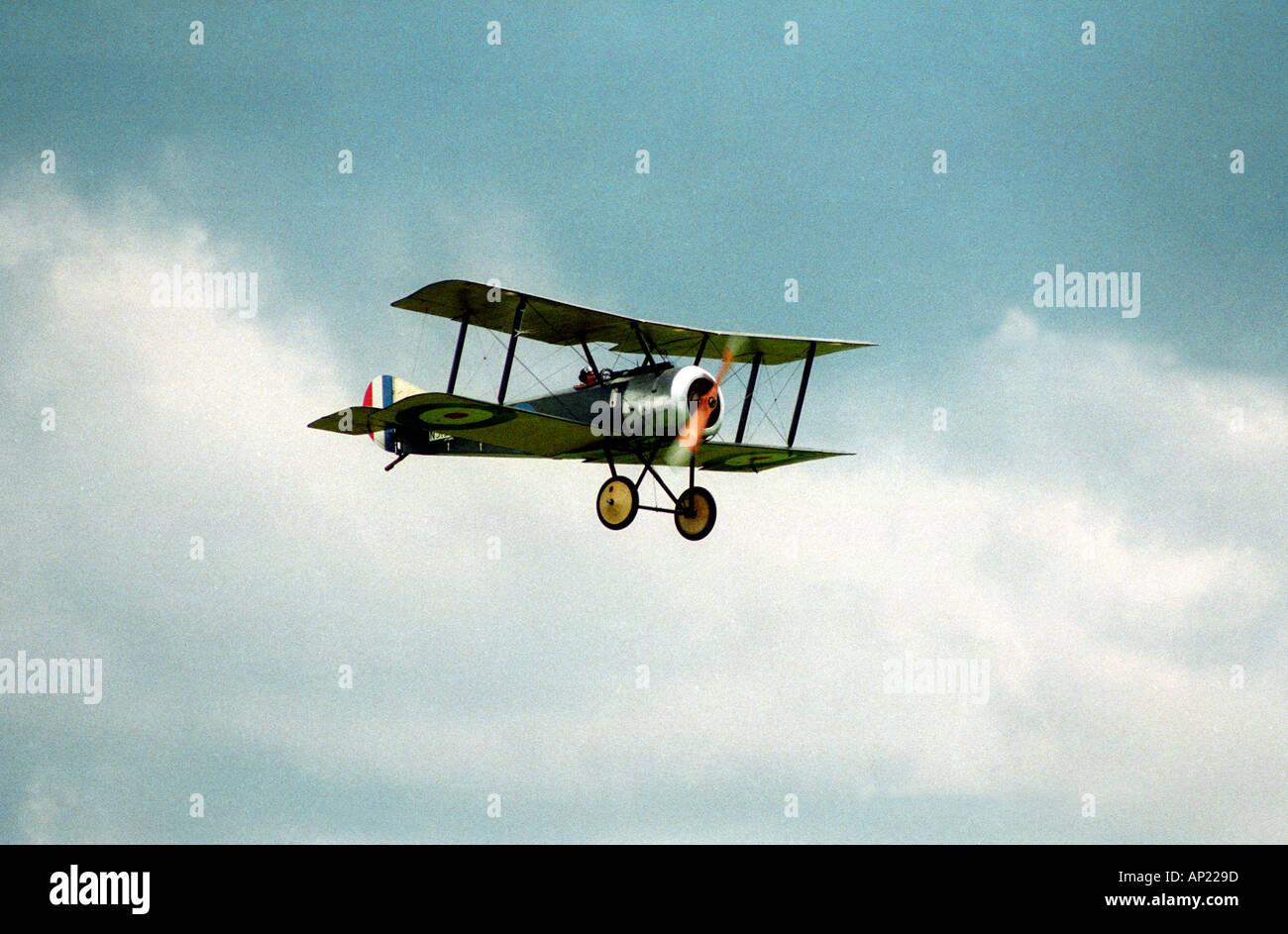 Bi plane at middle wallop aerodrome - Stock Image
