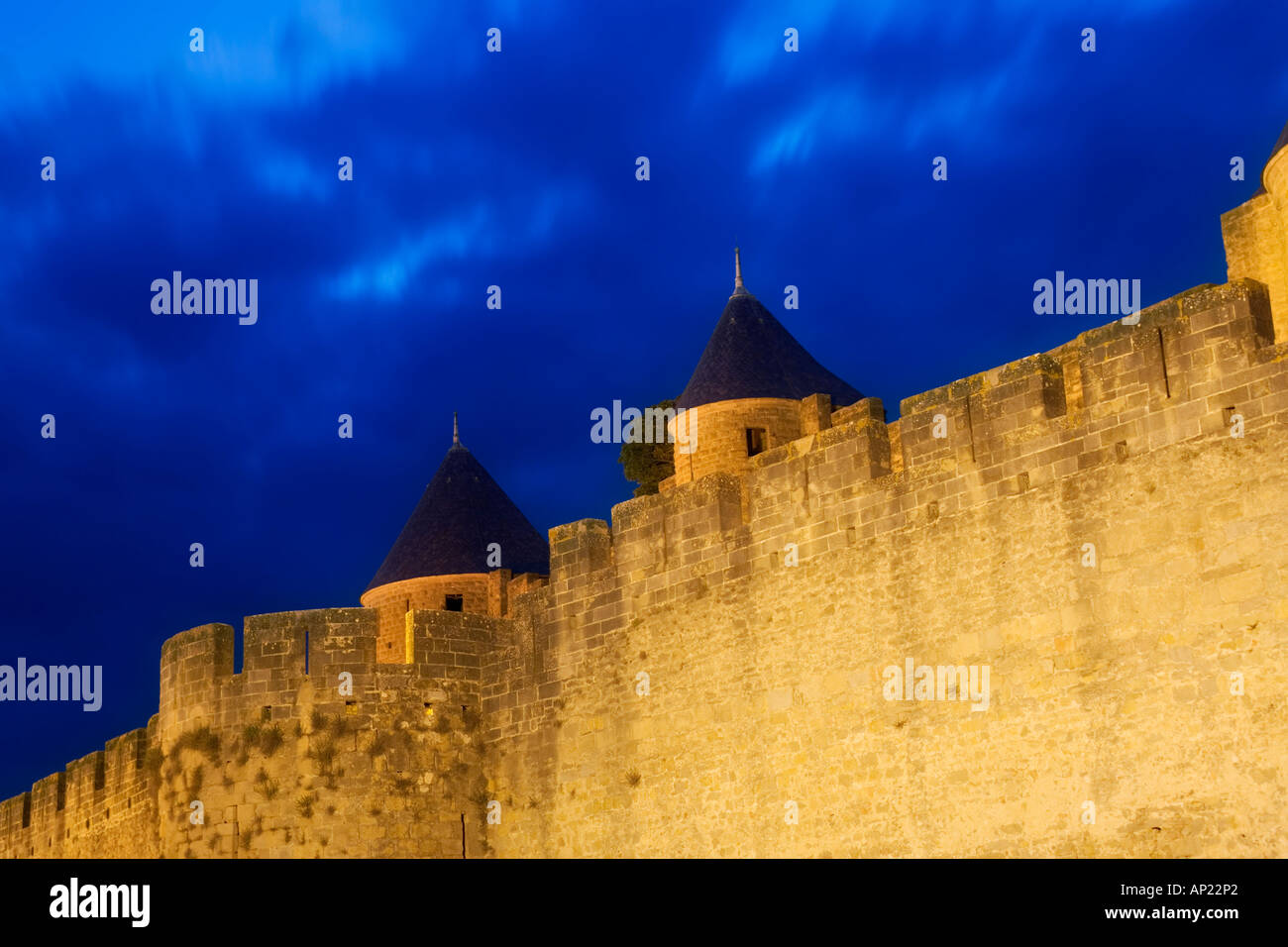 Walls of the fortified city of Carcassonne, France - Stock Image