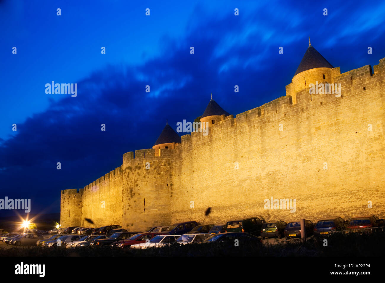 Carcassonne medieval walls by night - Stock Image