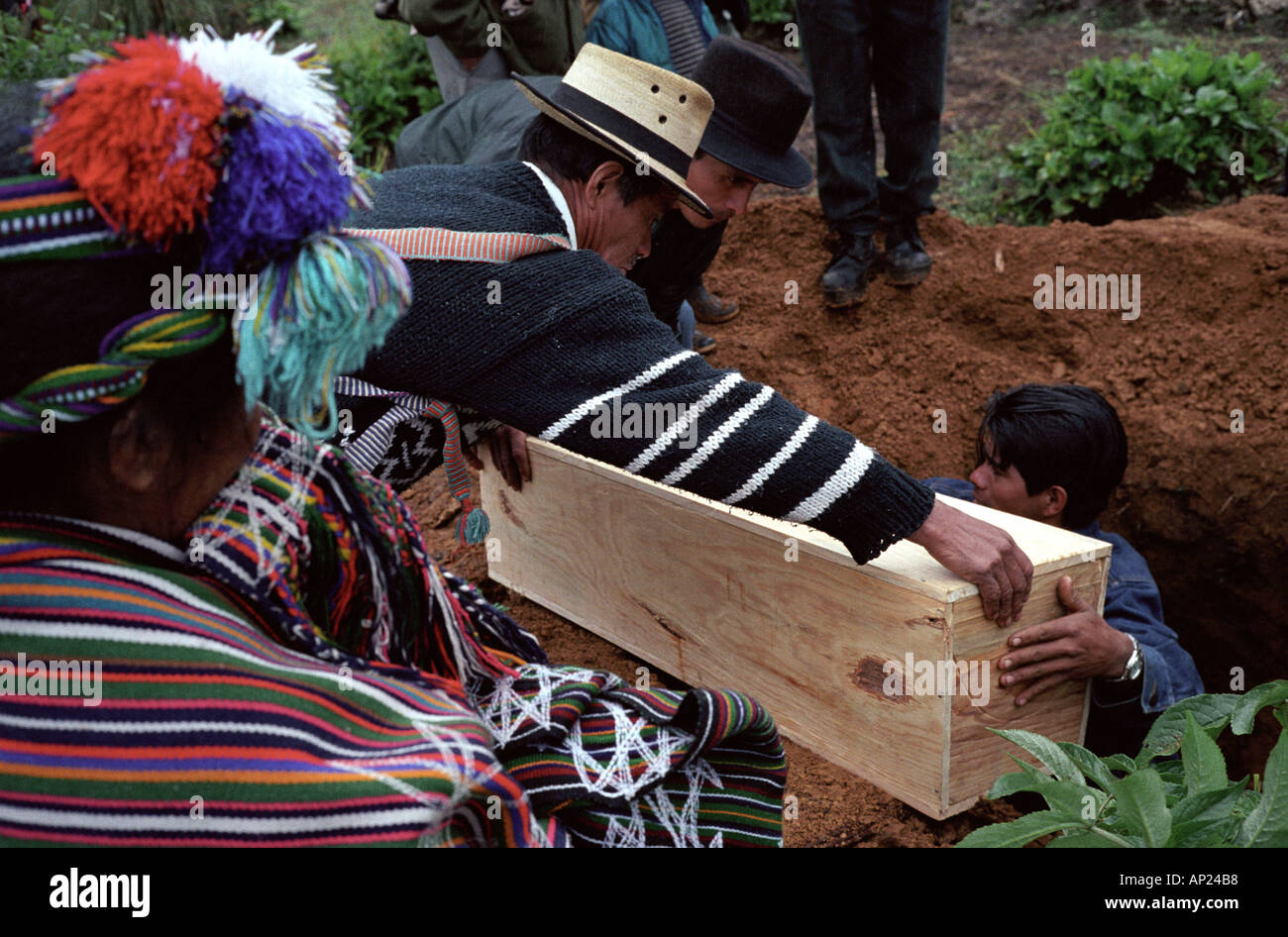 Reburial of massacre vicitims in Pulay Ixil Triangle Guatemala - Stock Image