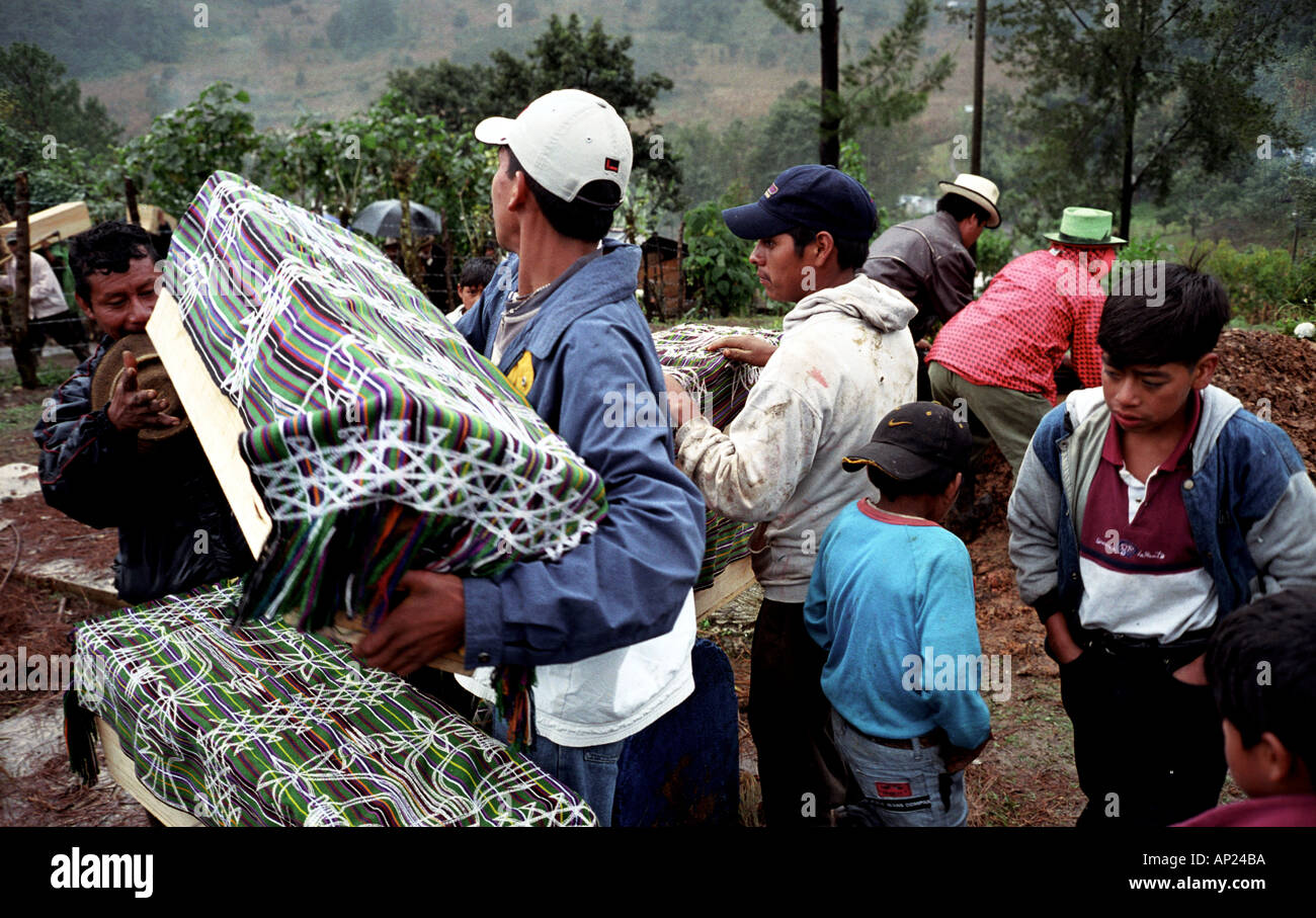 Reburial of massacre victims in Pulay Ixil Triangle Guatemala - Stock Image