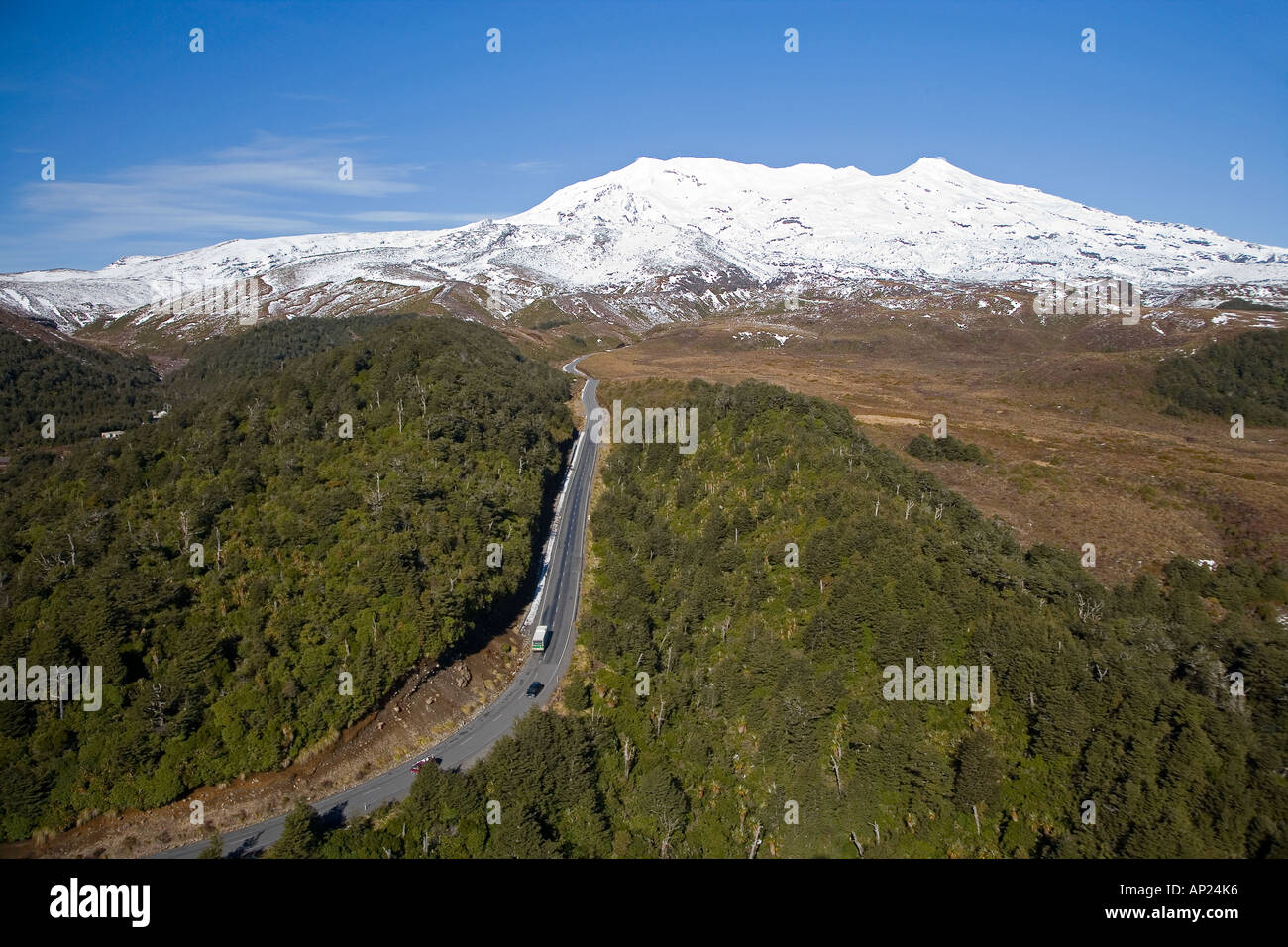 Bruce Road and Mt Ruapehu Tongariro National Park Central Plateau North Island New Zealand aerial - Stock Image