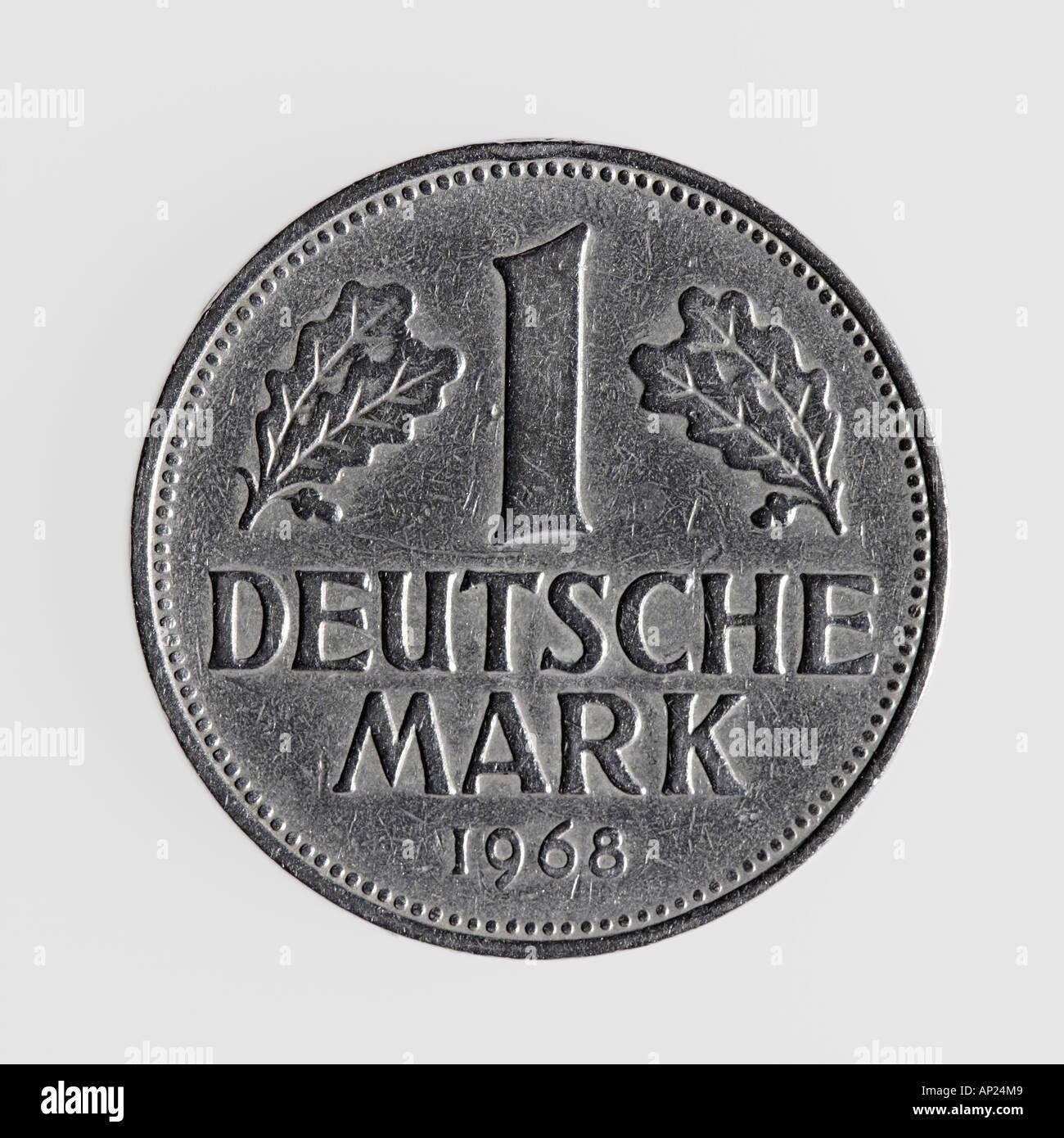 Single German Coin One Deutsch Mark Against White Background Stock