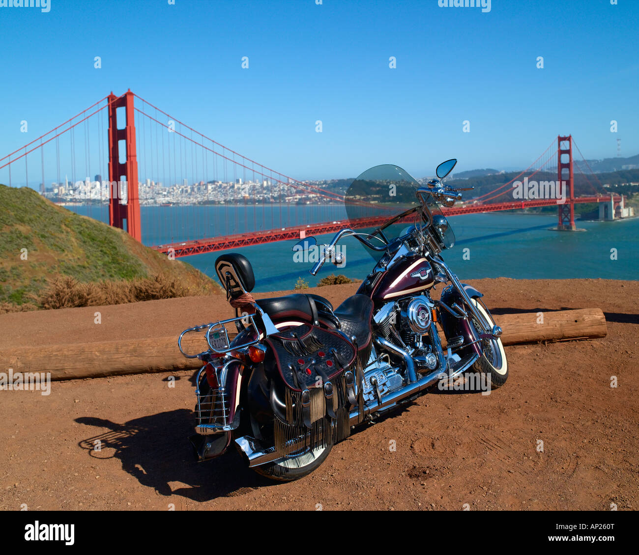 Harley Davidson San Francisco >> Harley Davidson Motorbike And Golden Gate Bridge San