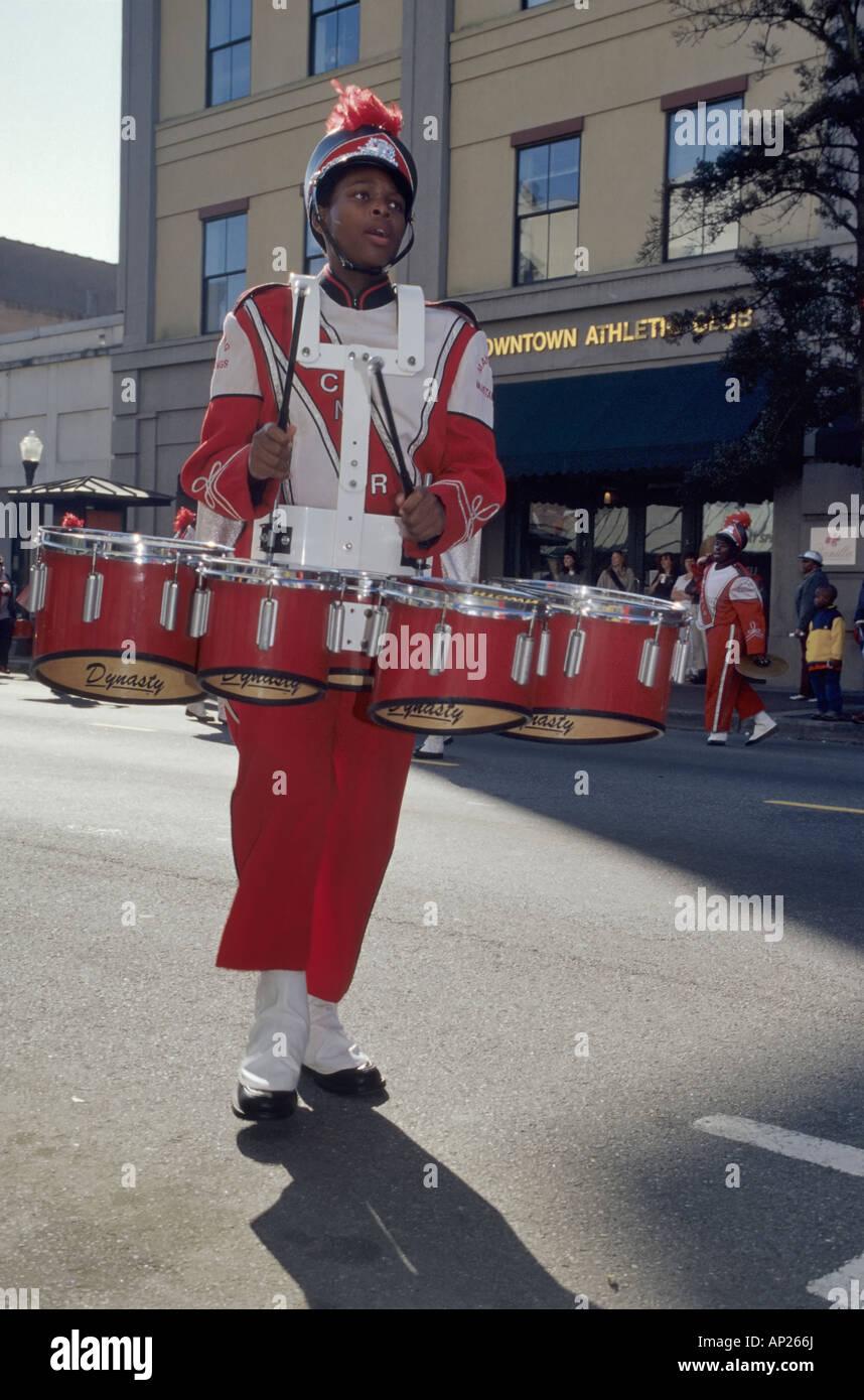 High school band member Downtown parade in Savannah Georgia USA - Stock Image