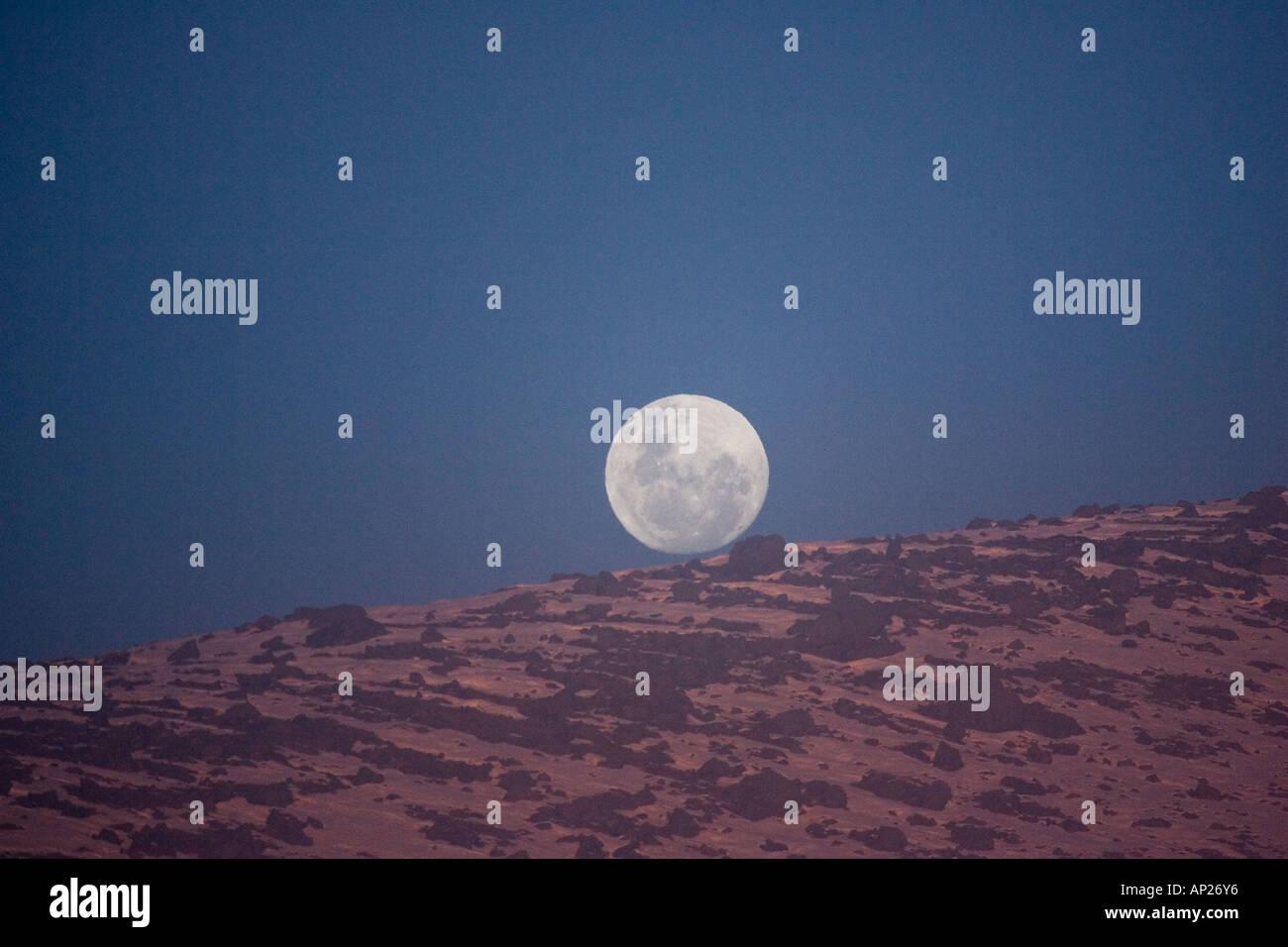 Moonrise Central Plateau North Island New Zealand - Stock Image