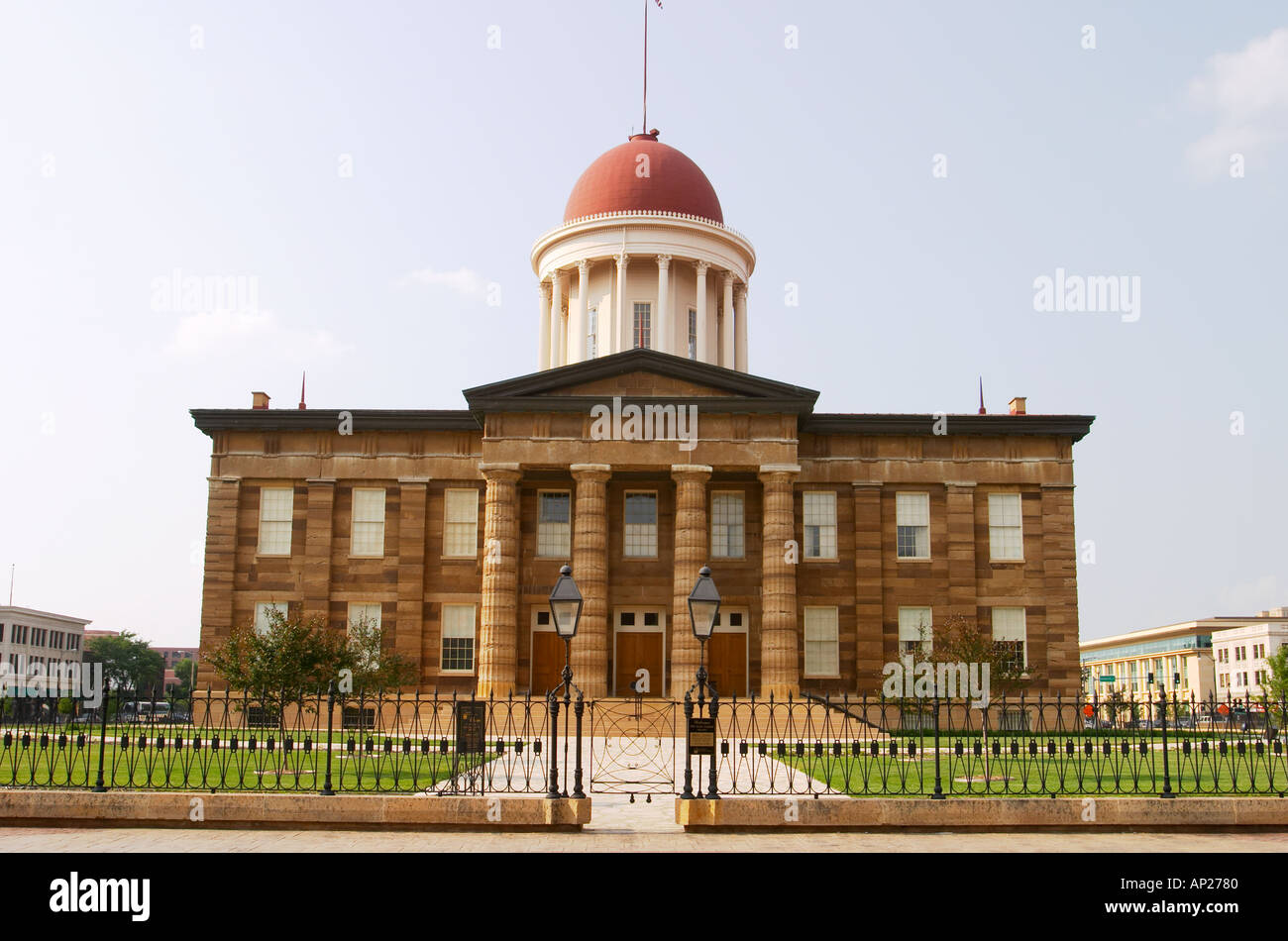 ILLINOIS Springfield Old State Capitol statehouse from 1839 to 1876 exterior wire fence  - Stock Image