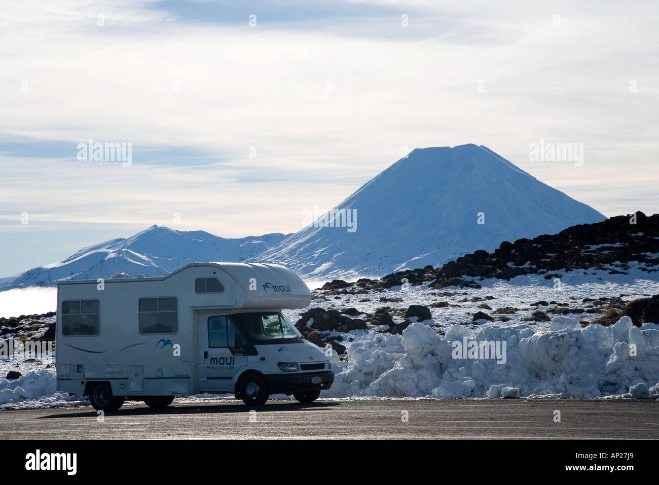 Campervan and Mt Ngauruhoe Tongariro National Park Central Plateau North Island New Zealand - Stock Image