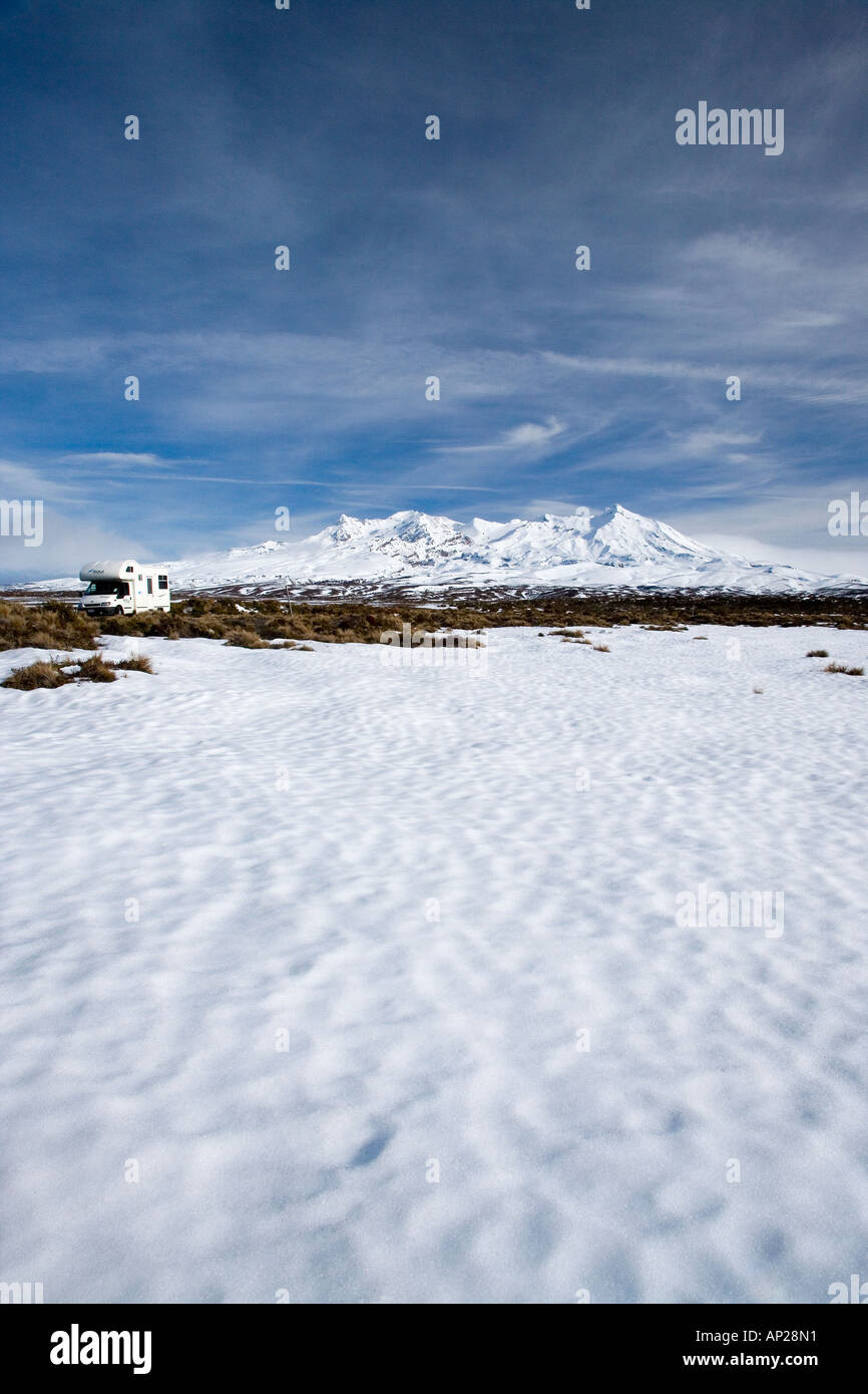 Rangipo Desert Campervan and Mt Ruapehu Central Plateau North Island New Zealand - Stock Image