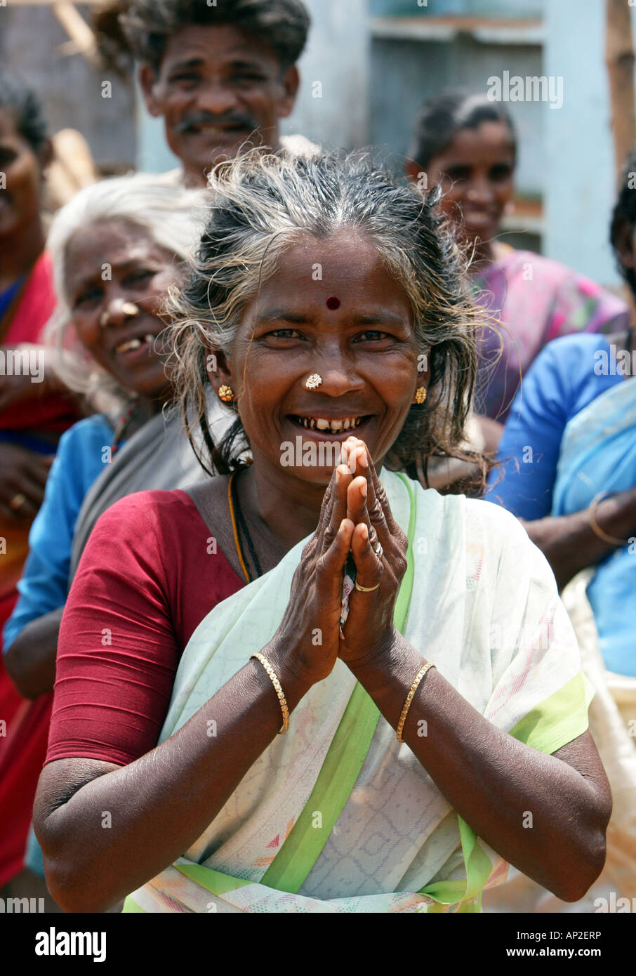 Dalit woman from the cast of the untouchables working as a scavanger. Madurai, India, Asia - Stock Image