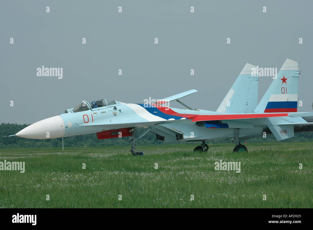 Fighter SU 27 on a runway - Stock Image