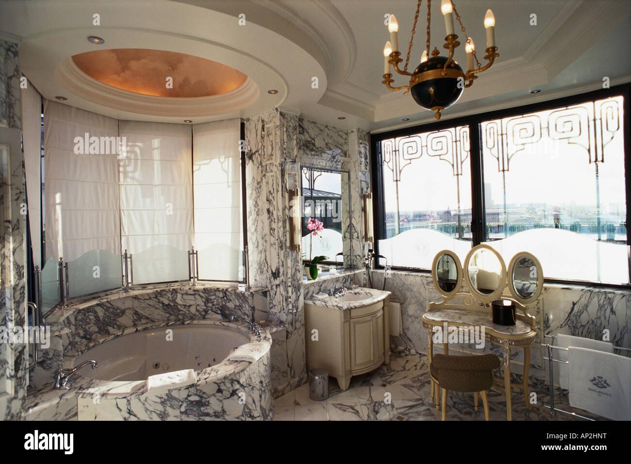 Marble Bathroom Suite And Jacuzzi Bath In La Belle Etoile Luxury Hotel Le Meurice Accomodation Paris France