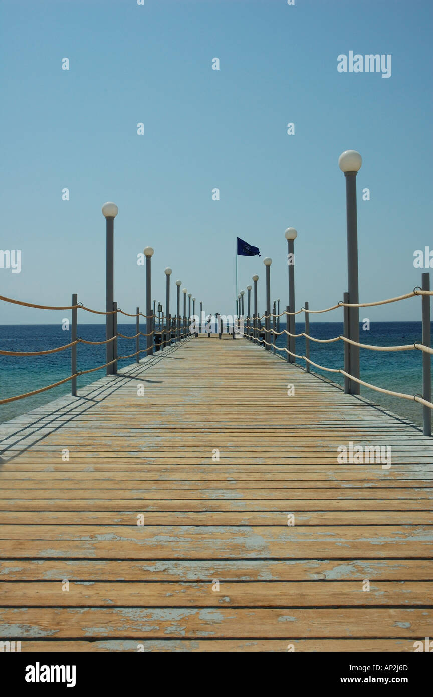 The jetty at the Coral Hilton Resort in Nuweiba Egypt - Stock Image