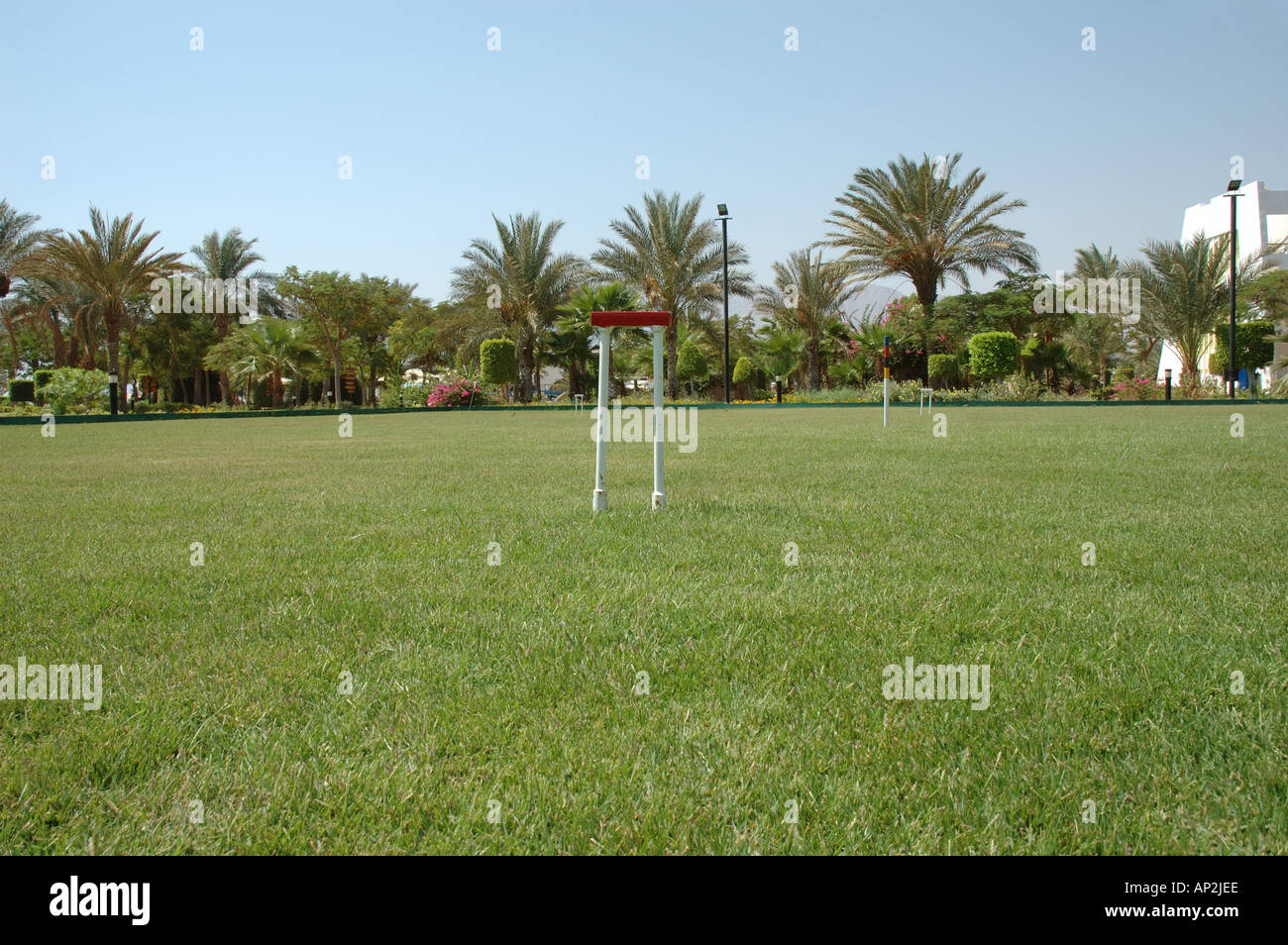 The croquet lawn at the Hilton Coral Resort Nuweiba Egypt - Stock Image