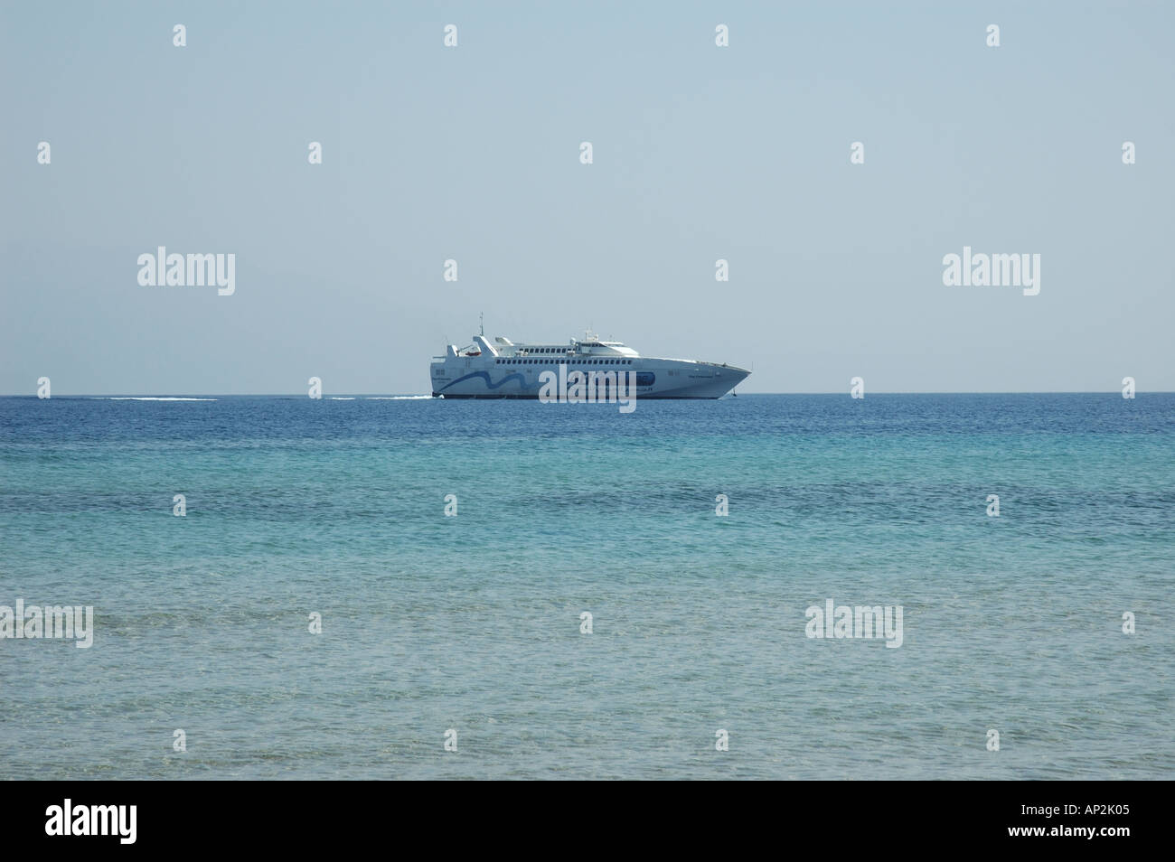 The fast ferry which travels daily from the port of Aqaba in Jordan to the port of Nuweiba in Egypt - Stock Image
