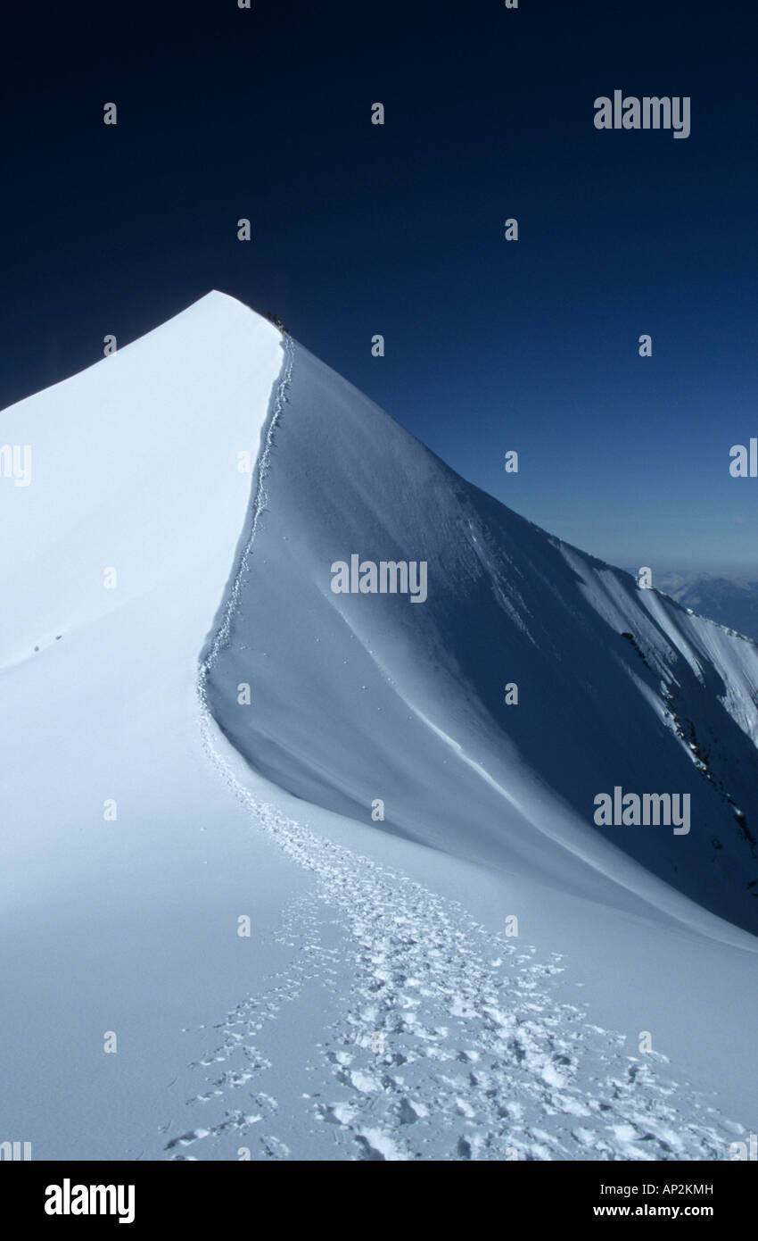 track in snow at ridge of Domes de Miage, Mont Blanc range, France - Stock Image