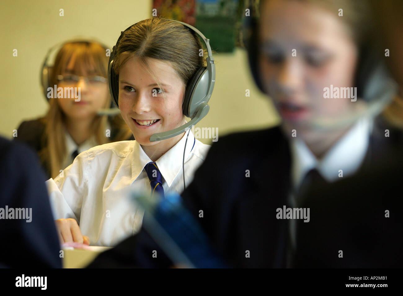 Female students enjoying French lessons at Colyton Grammar School in Devon UK Stock Photo