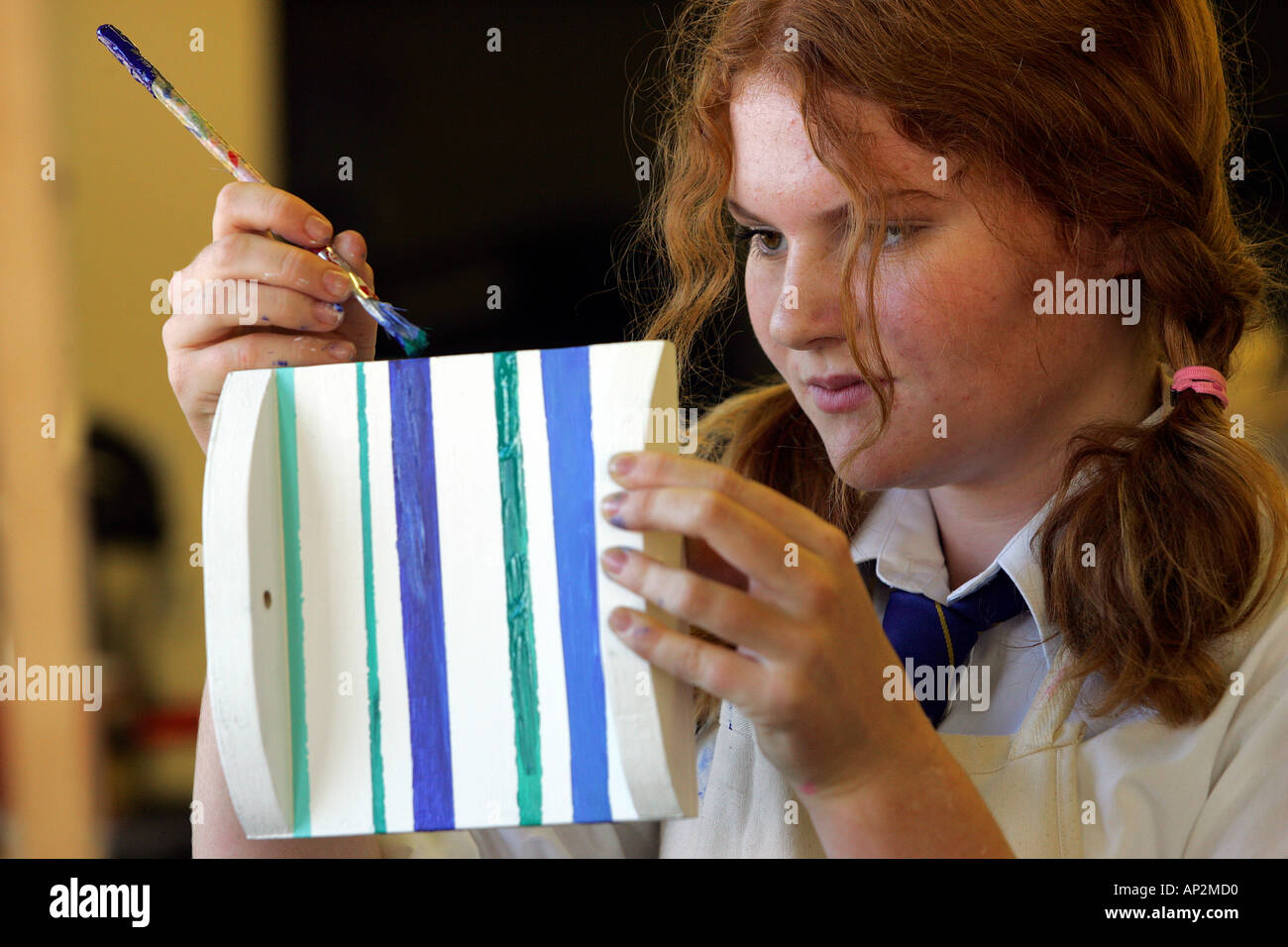 Female pupil in a design technology class at secondary school Colyton Grammar in Devon UK Stock Photo