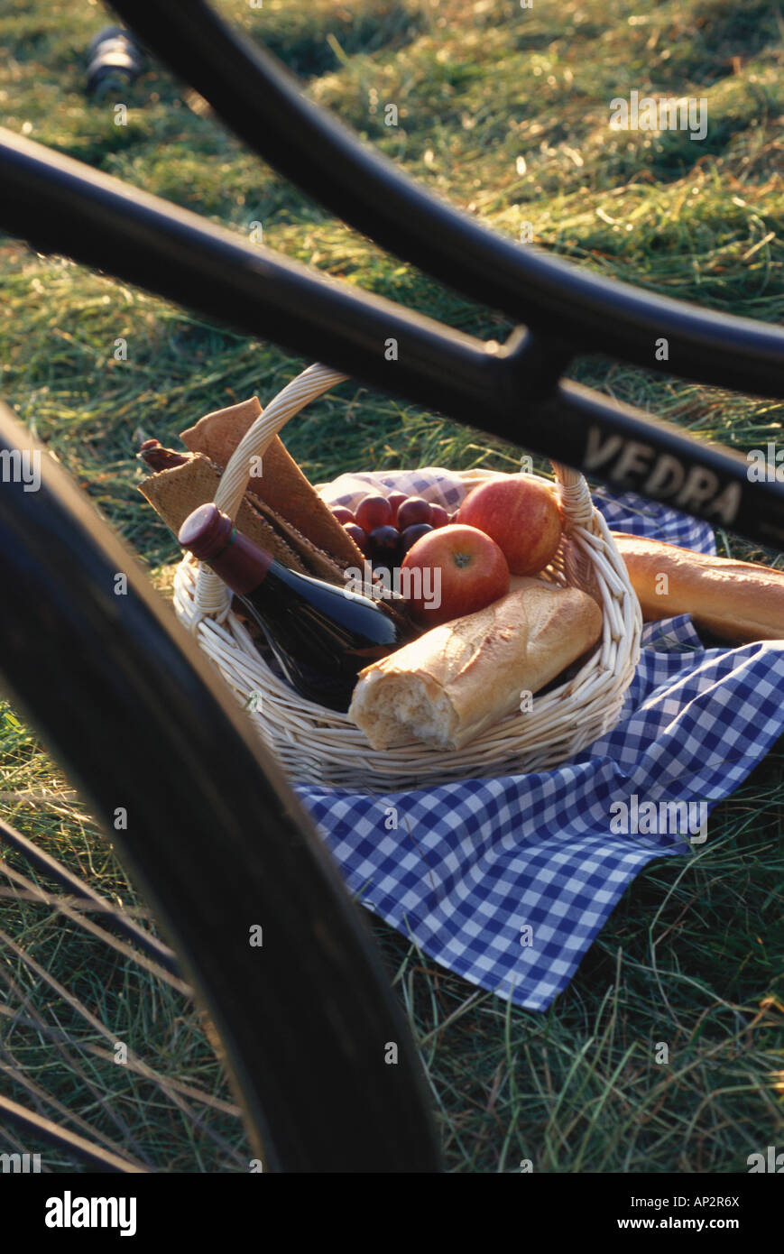 Picnic basket full of food, picnic, food and drink, lesiure, Germany - Stock Image
