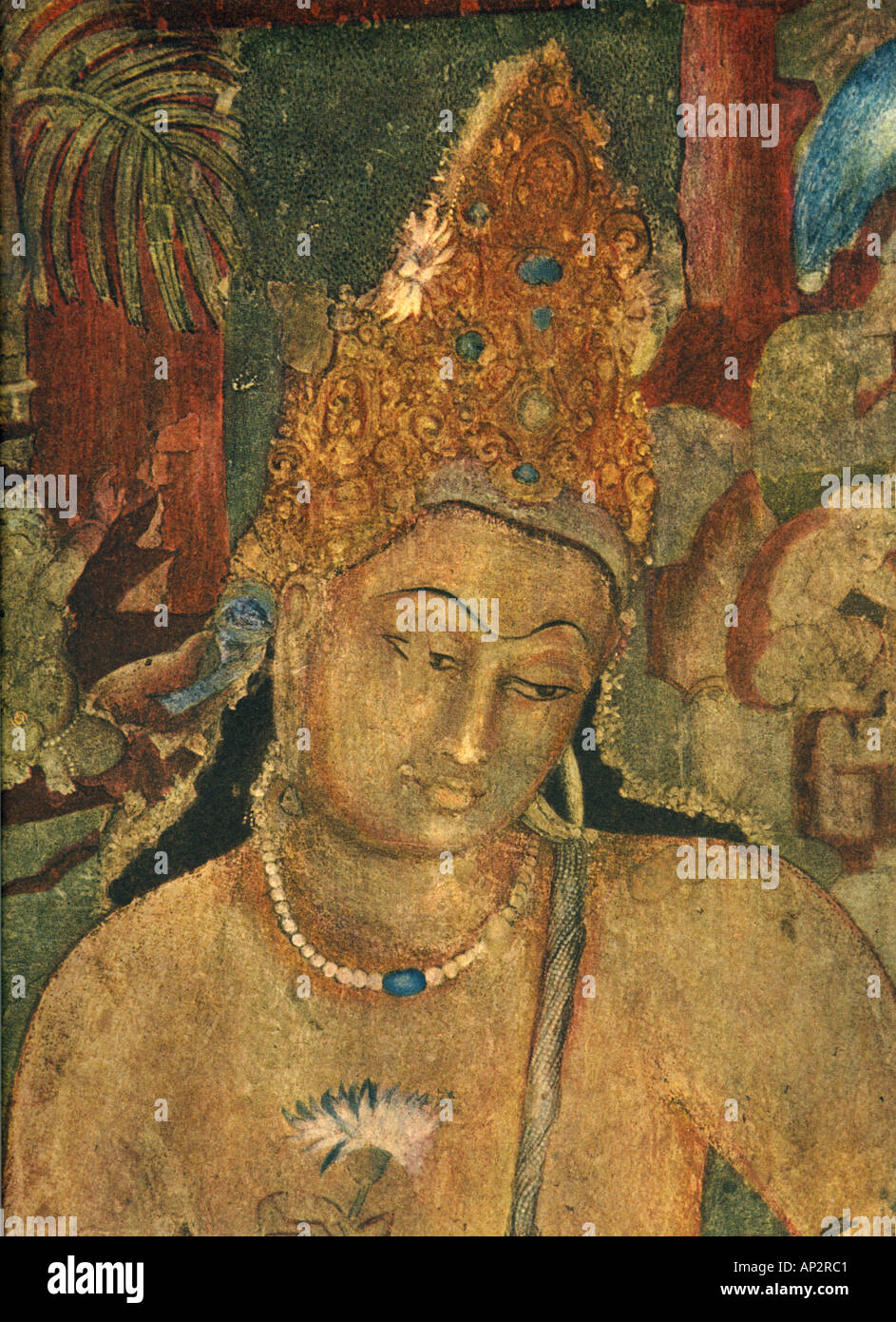 Asian Painting Colours >> Art Fresco Ajanta caves Indian Buddhist wall painting illustration Stock Photo: 5111744 - Alamy