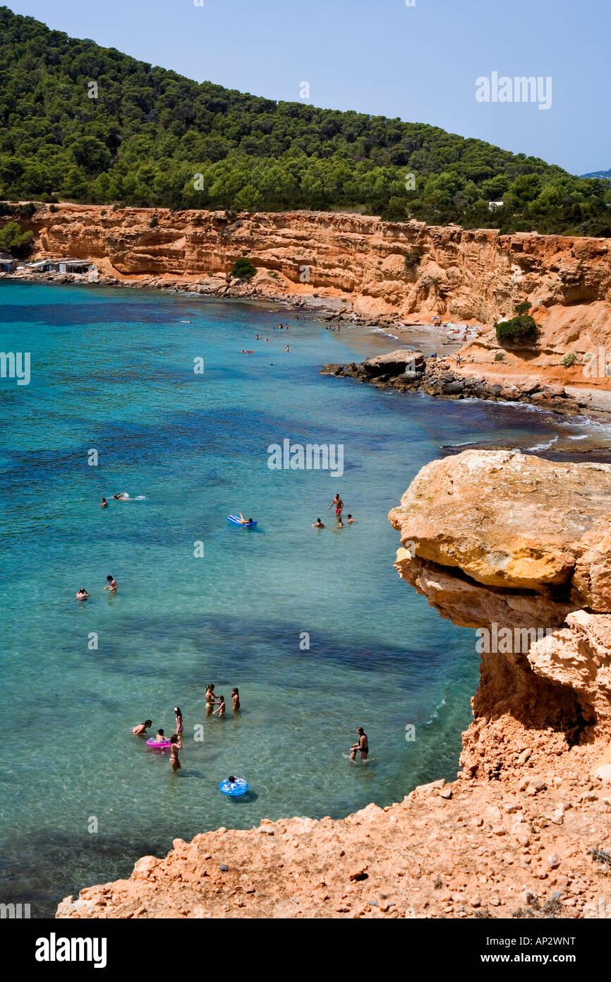 Bay, Sa Caleta, Ibiza, Balearic Islands, Spain - Stock Image