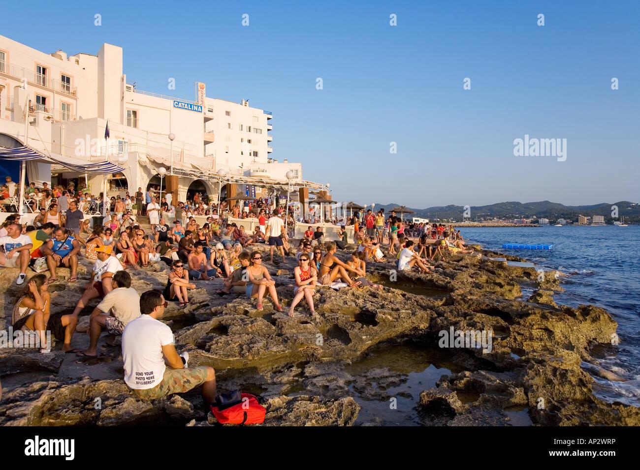 Cafe del Mar, Sant Antoni de Portmany, Ibiza, Balearic Islands, Spain - Stock Image