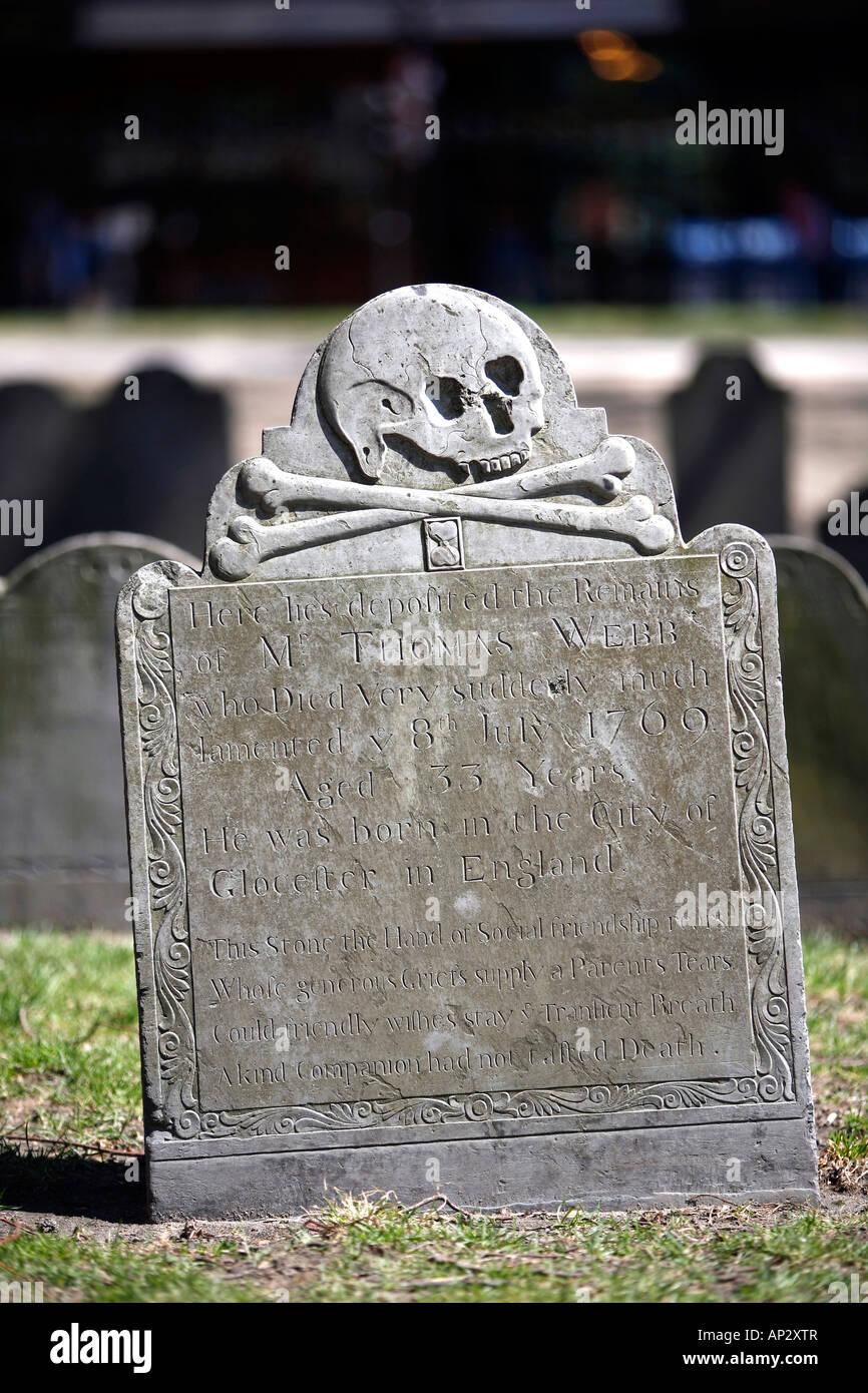 A gravestone in a cemetary, Old Granary Burying Ground, Boston, Massachusetts, USA - Stock Image