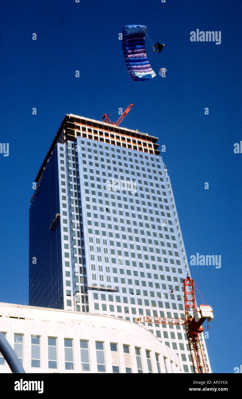 Australian Mark Scott making the first ever BASE Jump from Canary Wharf Tower Docklands London Great Britain Stock Photo