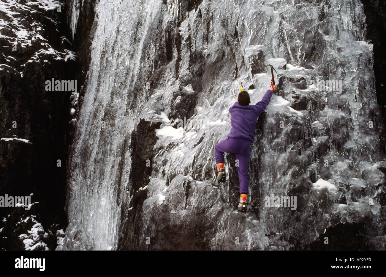 ice climber Sam Wellend Ice climbing in Snowdonia National Park North Wales Great Britain - Stock Image