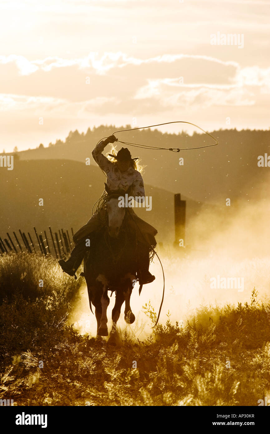 Cowgirl throwing lasso wildwest, Oregon, USA - Stock Image