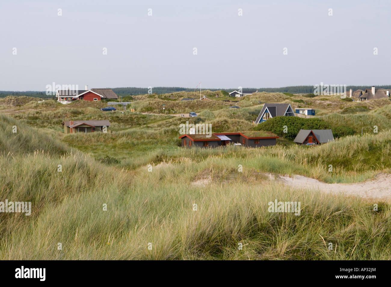 Vacation Home in Dunes, Ferienhaus in Duenen, Henne Strand, Central Jutland, Denmark - Stock Image