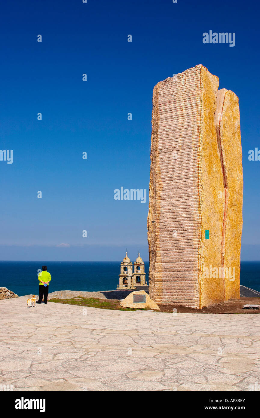 Landscape with pilgrim church, A Virxe da Barca, Mirador, Jesus Quintanal, Punta da Barca, Costa da Morte, Galicia, - Stock Image