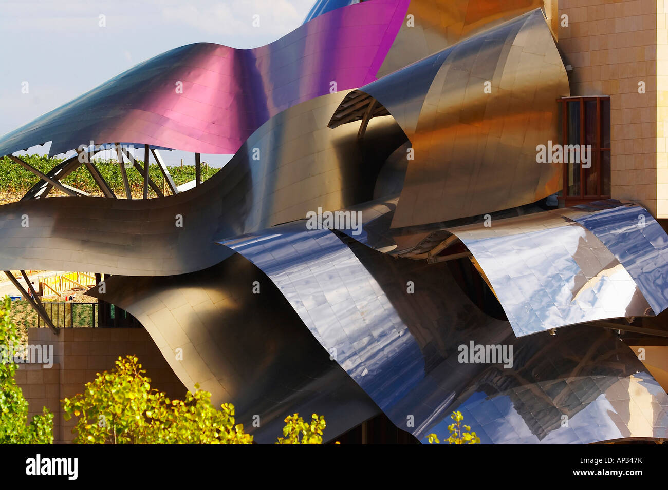 Hotel from architect Frank Gehry and Bodegas Marqués de Riscal, oldest Rioja winery, Elciego, Euskadi, País - Stock Image