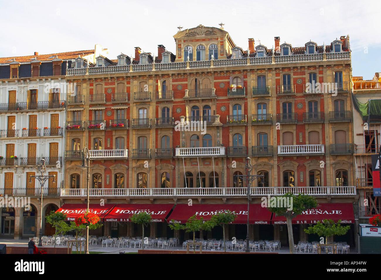 Cafe Iruna, Ernest Hemingways favourite cafe, Plaza del Castillo, Pamplona, Navarra, Spain - Stock Image