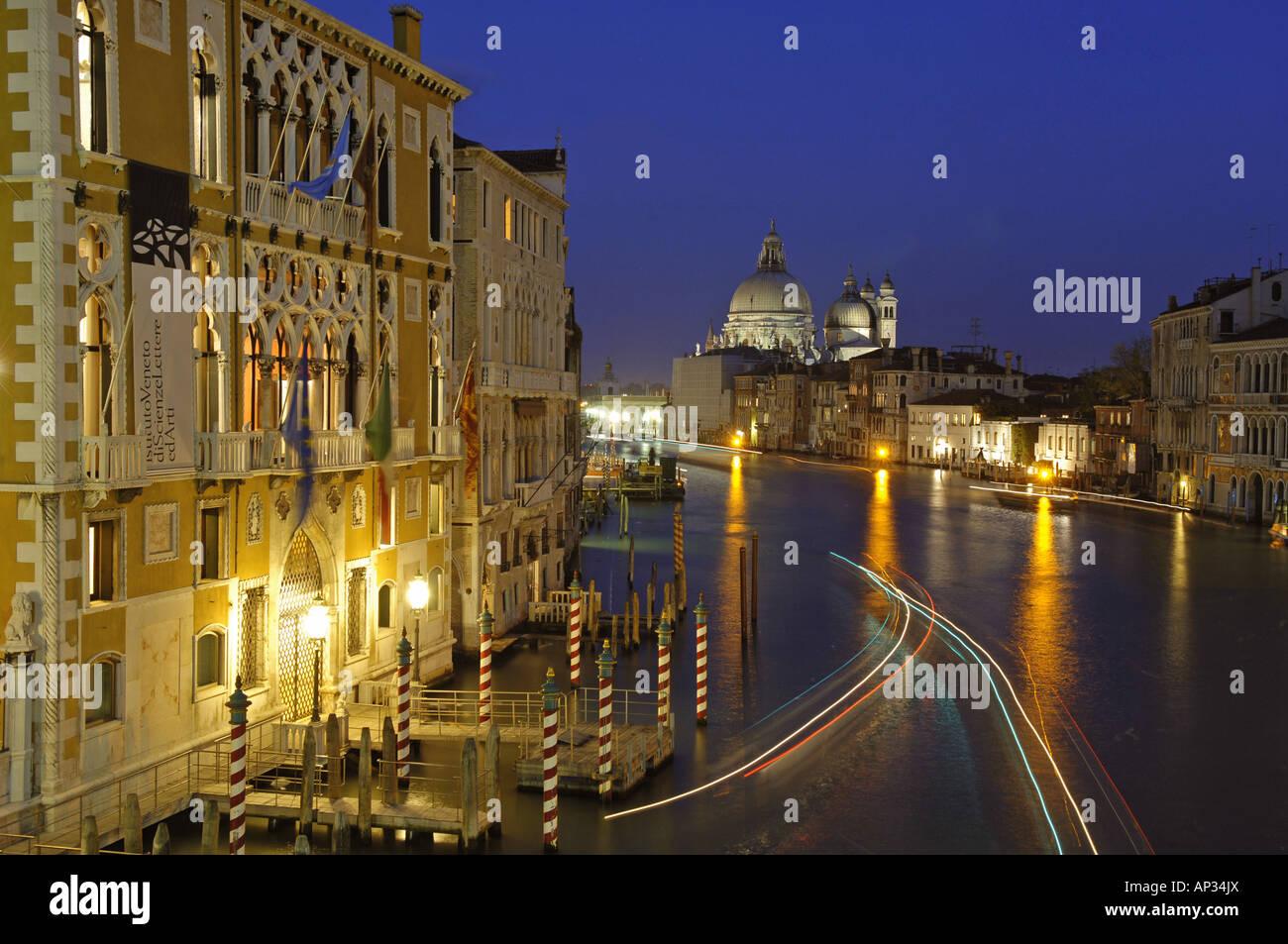View from Accademia Bridge to Santa Maria della Salute curch, Canale Grande, Venice, Veneto, Italy - Stock Image