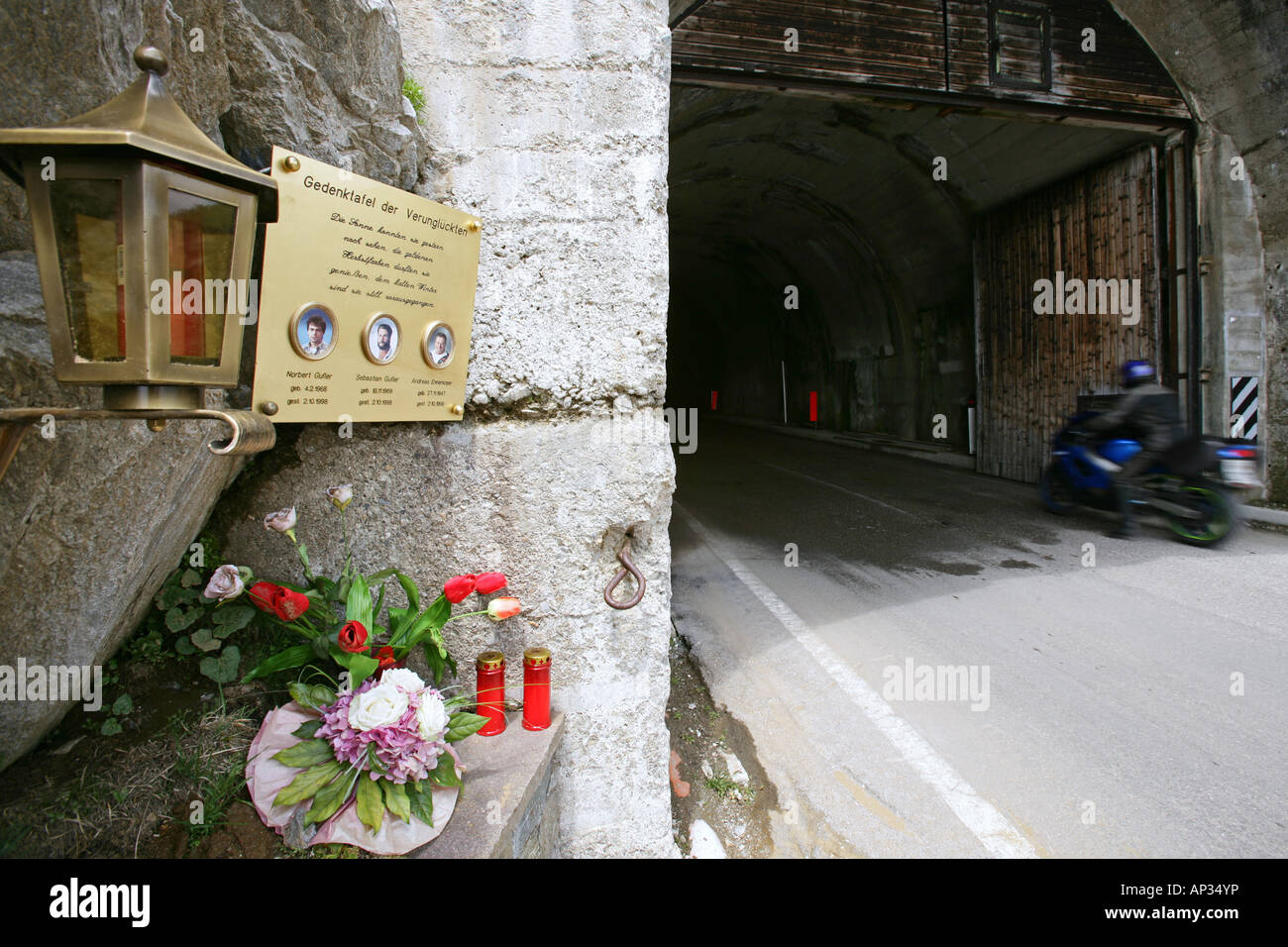 Motorbike tour in June over alpine passes, memorial for motorbike casualties, tunnel, summit pass at Timmelsjoch - Stock Image