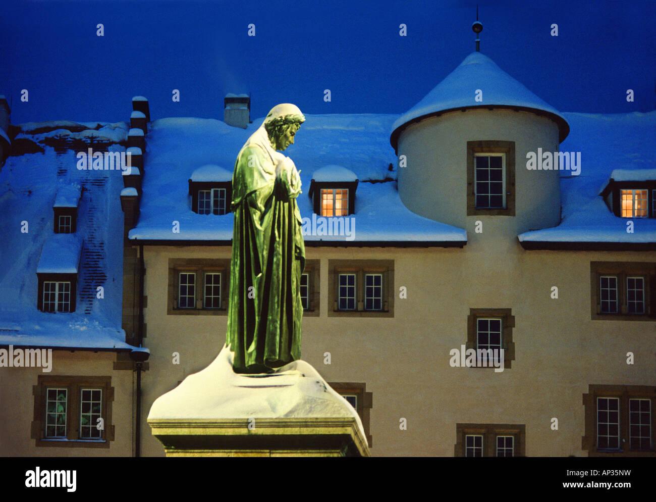 Schiller statue in snow, Schillerplatz, Stuttgart, Baden Wuerttemberg, Germany, Europe - Stock Image