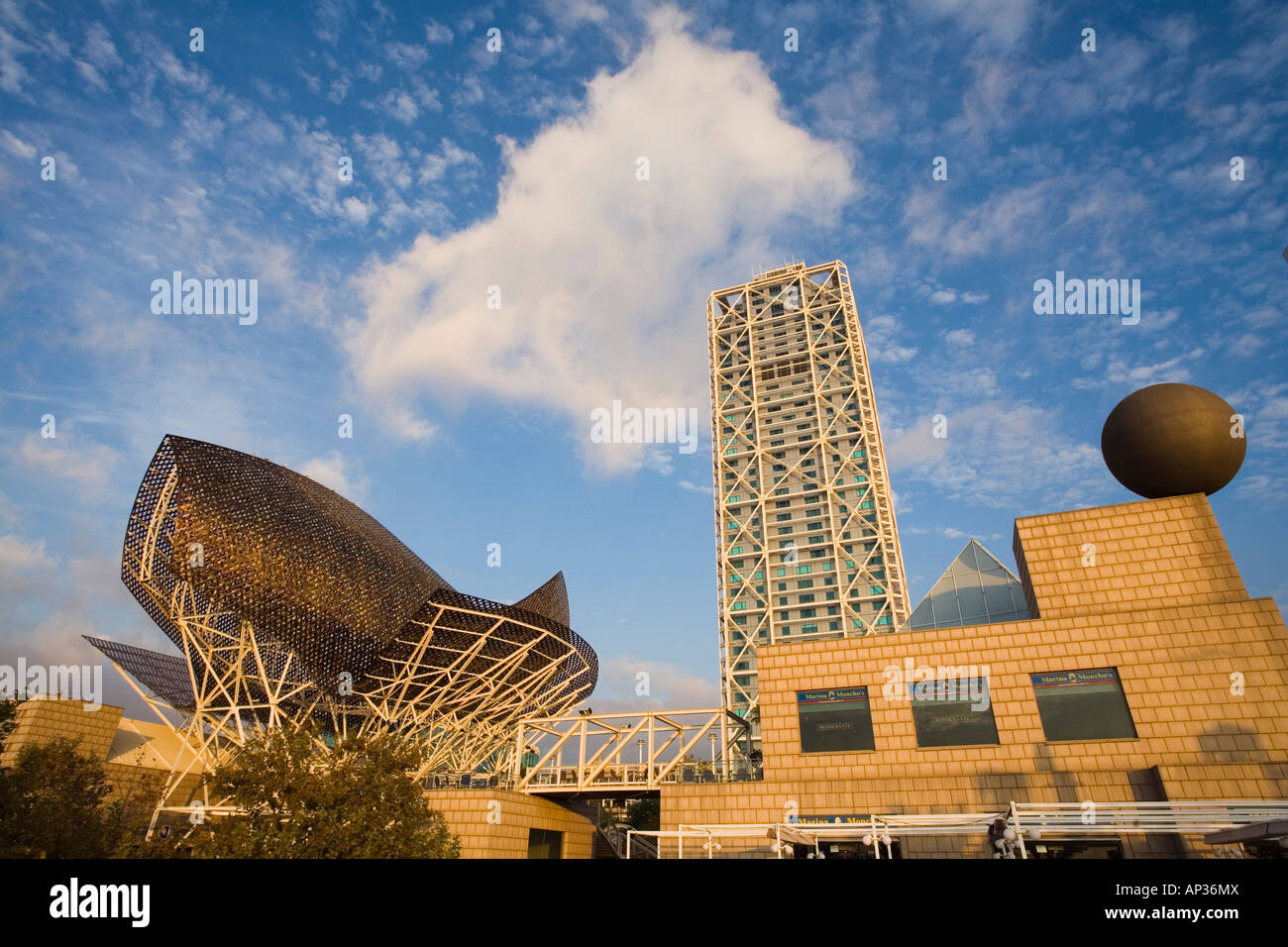 Fish, sculpture by Frank O. Gehry, Port Olimpic, Vila Olimpica, Barcelona, Spain - Stock Image