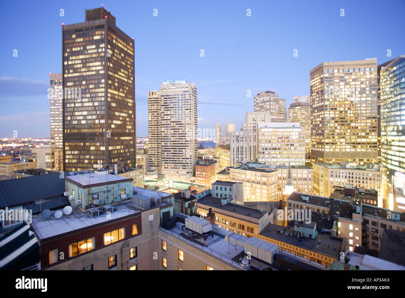 Skyscrapers of Boston financial district in the evening, Boston, Massachusetts, United States, USA - Stock Image