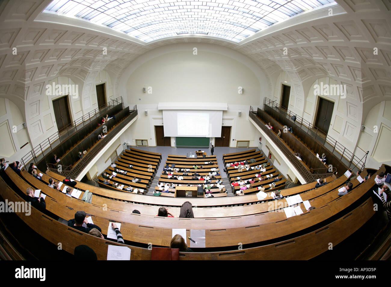 Lecture in the auditorium Maximum, LMU, University, Ludwig Maximilians Universitaet, Munich, Bavaria, Germany - Stock Image