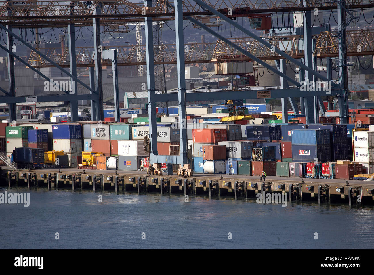 Containers stacked in Port of Belfast Ireland UK - Stock Image