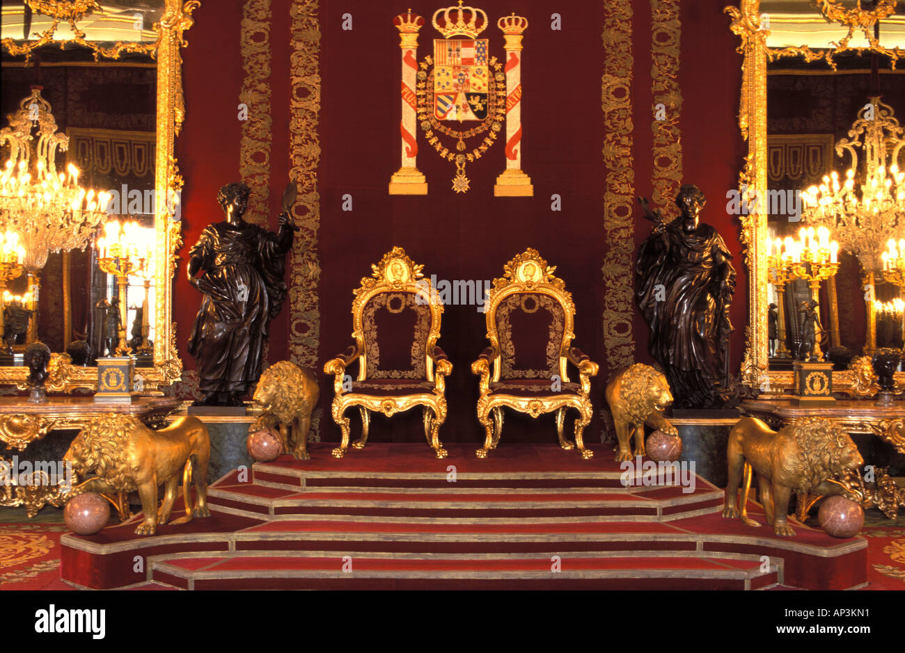 Spain Madrid Royal Palace Throne Room Stock Photo