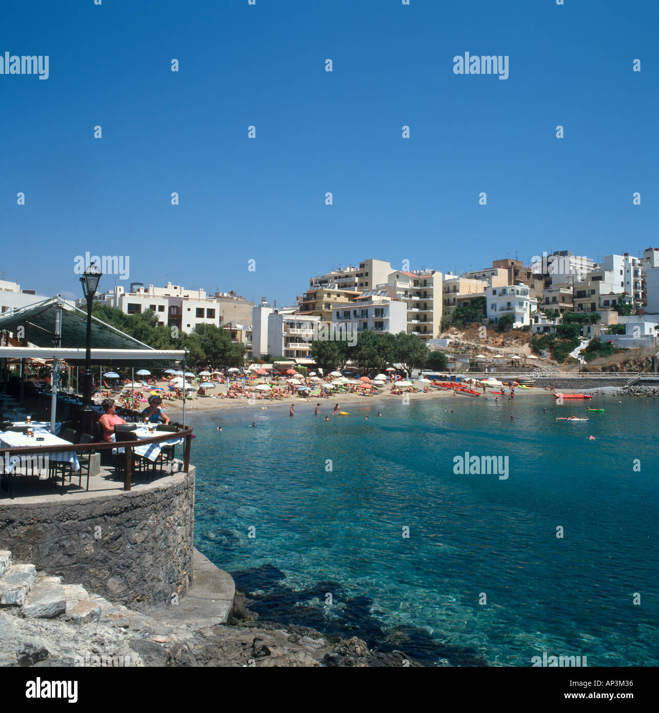 Town Beach, Aghios Nikolaos, North East Coast, Crete, Greece - Stock Image