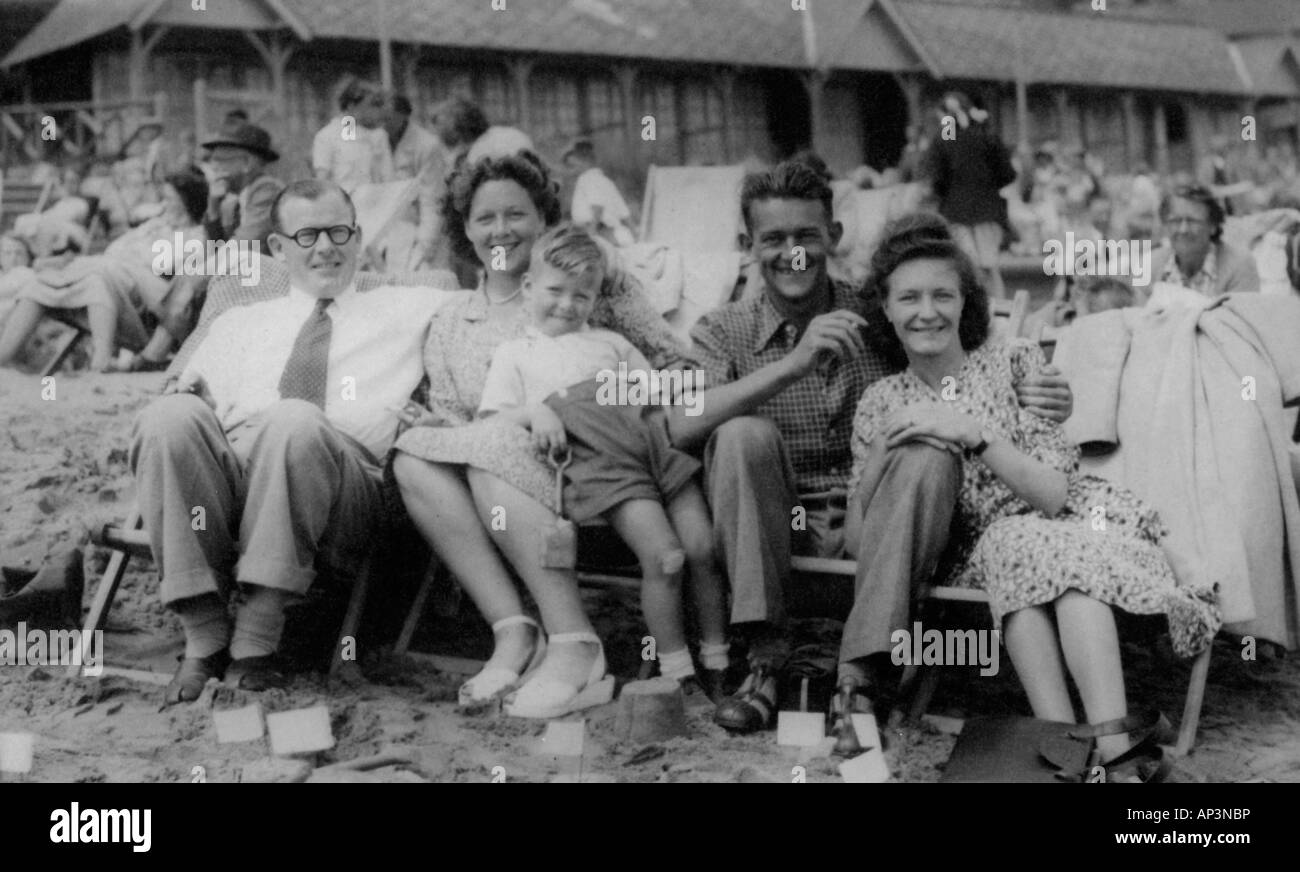 Old Black And White Family Portrait Snap Shot Of Family And Friends