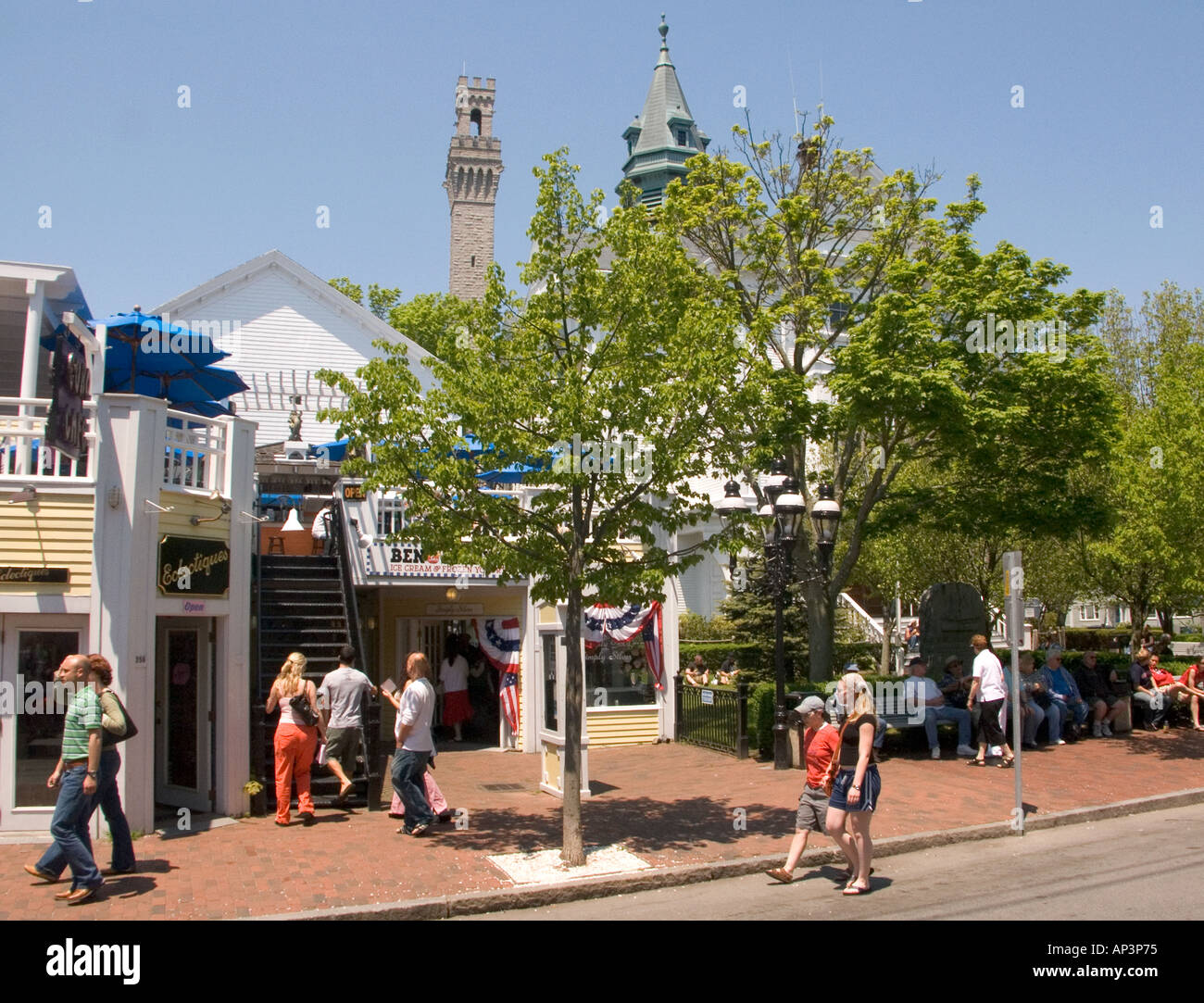 Shops and stores on commercial street Provincetown Massachussetts USA - Stock Image