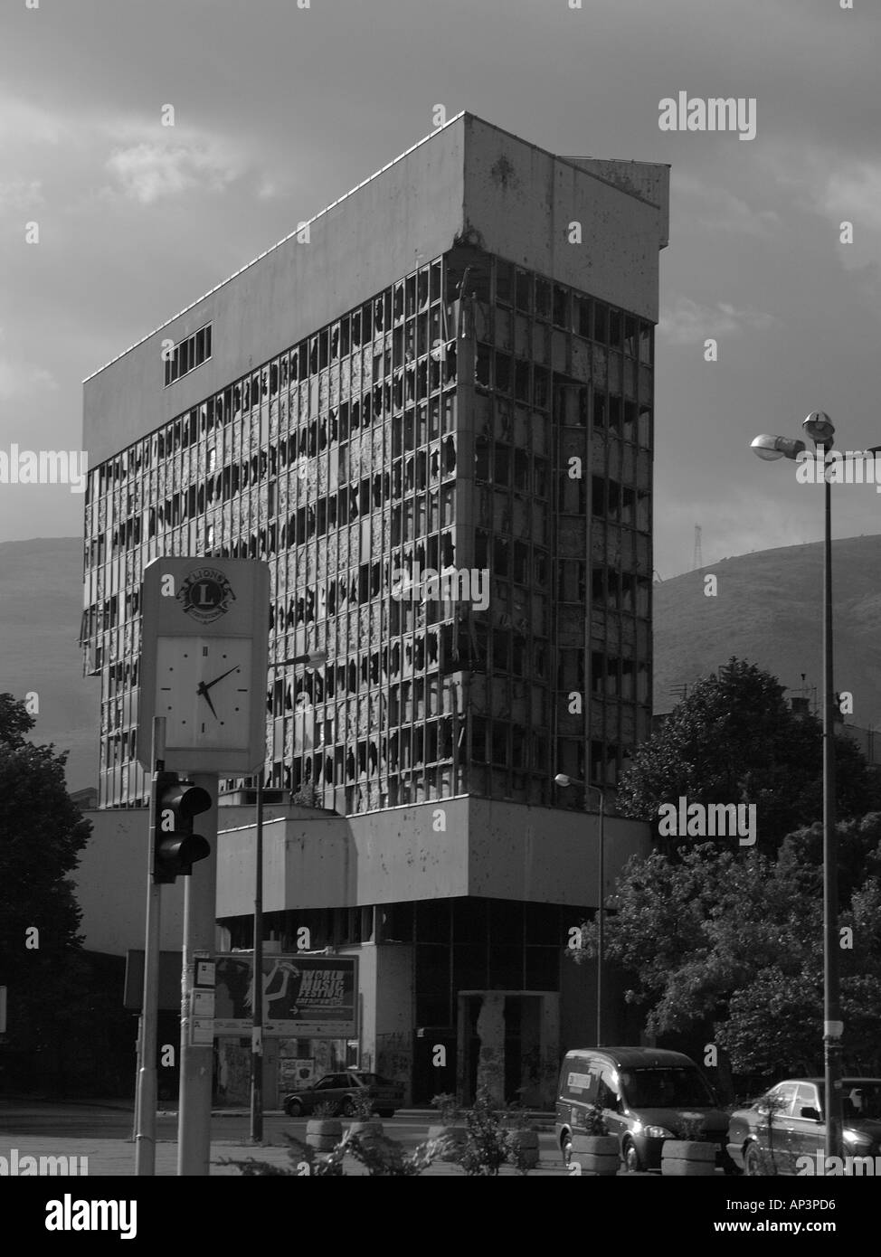 War damaged building in the Bosnian town of Mostar Stock Photo
