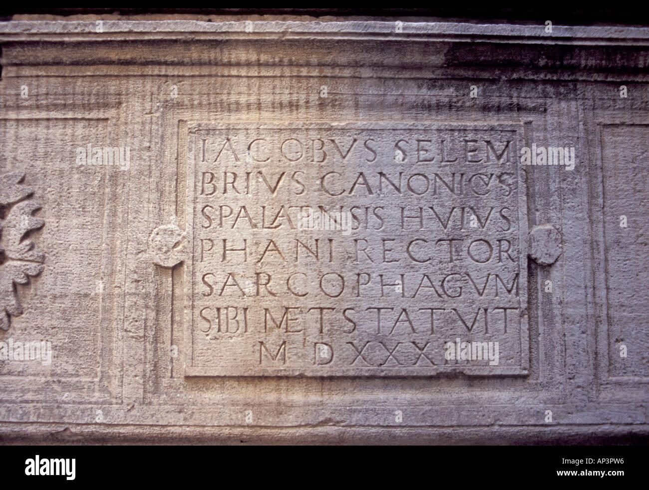 Europe, Croatia, Dalmatia, Split, Diocletian's Palace. Roman inscription in the Temple of Jupiter - Stock Image
