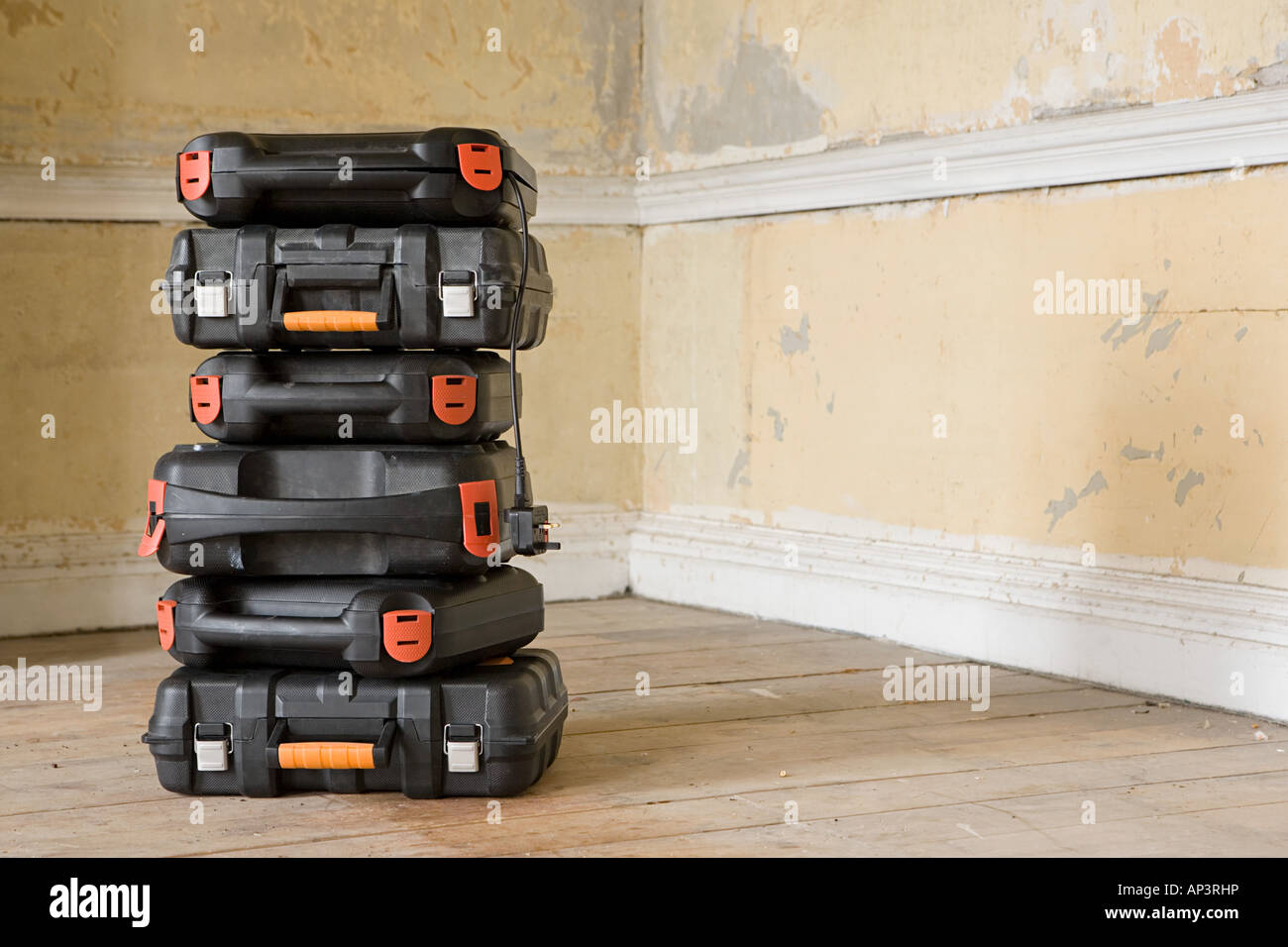 Stack of tool boxes - Stock Image
