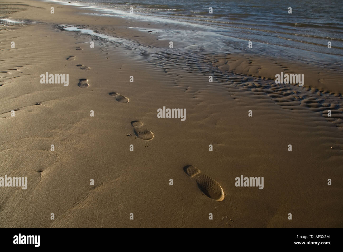 Footprints on Beach Stock Photo