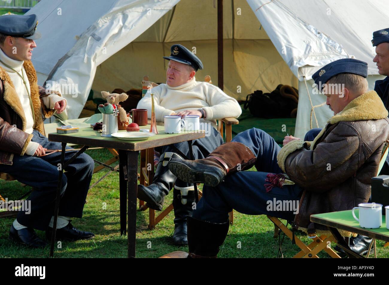 RAF pilots WWII sitting around waiting to scramble Colour - Stock Image